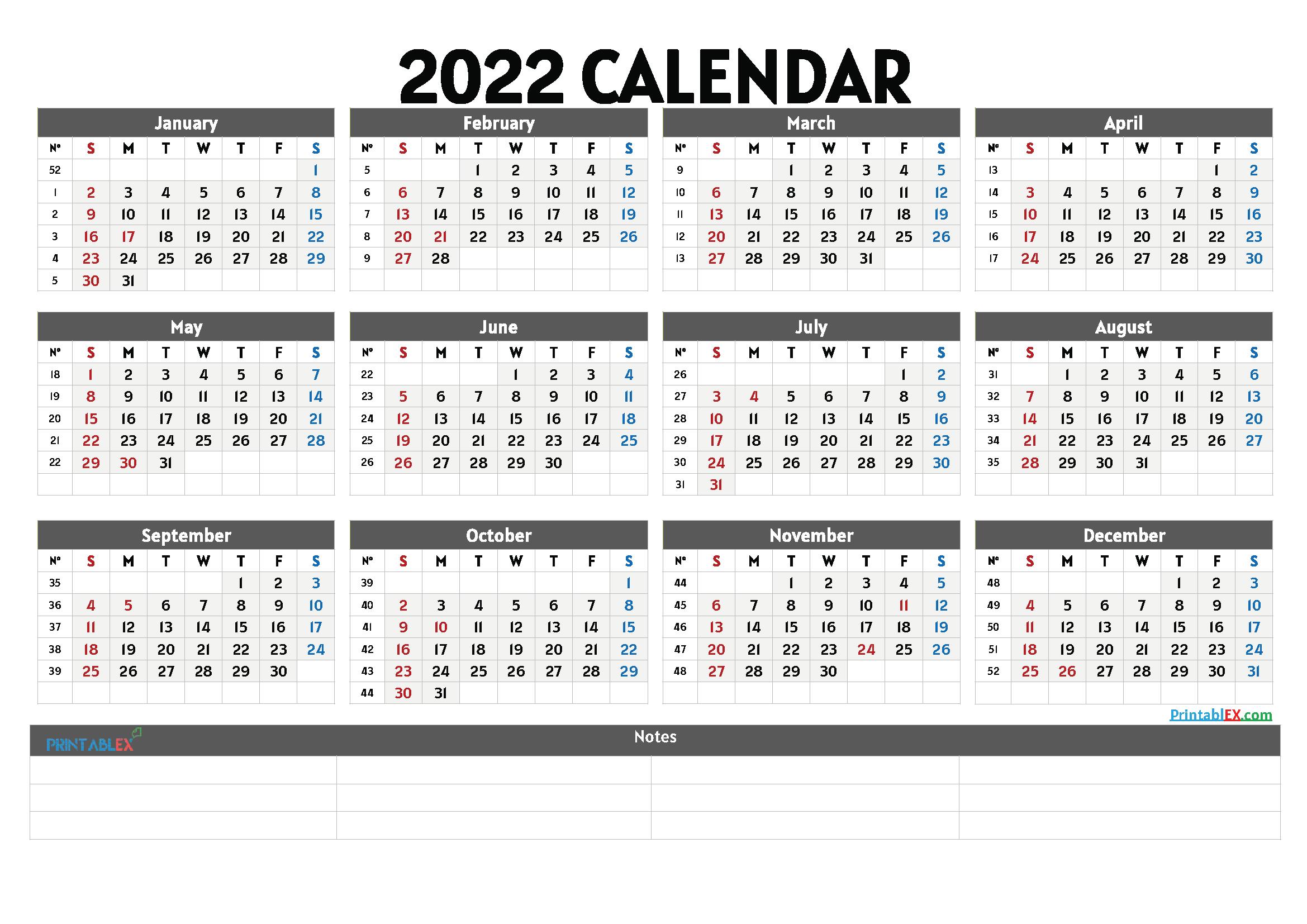 Cute Printable Calendar 2022 (Font: alats)