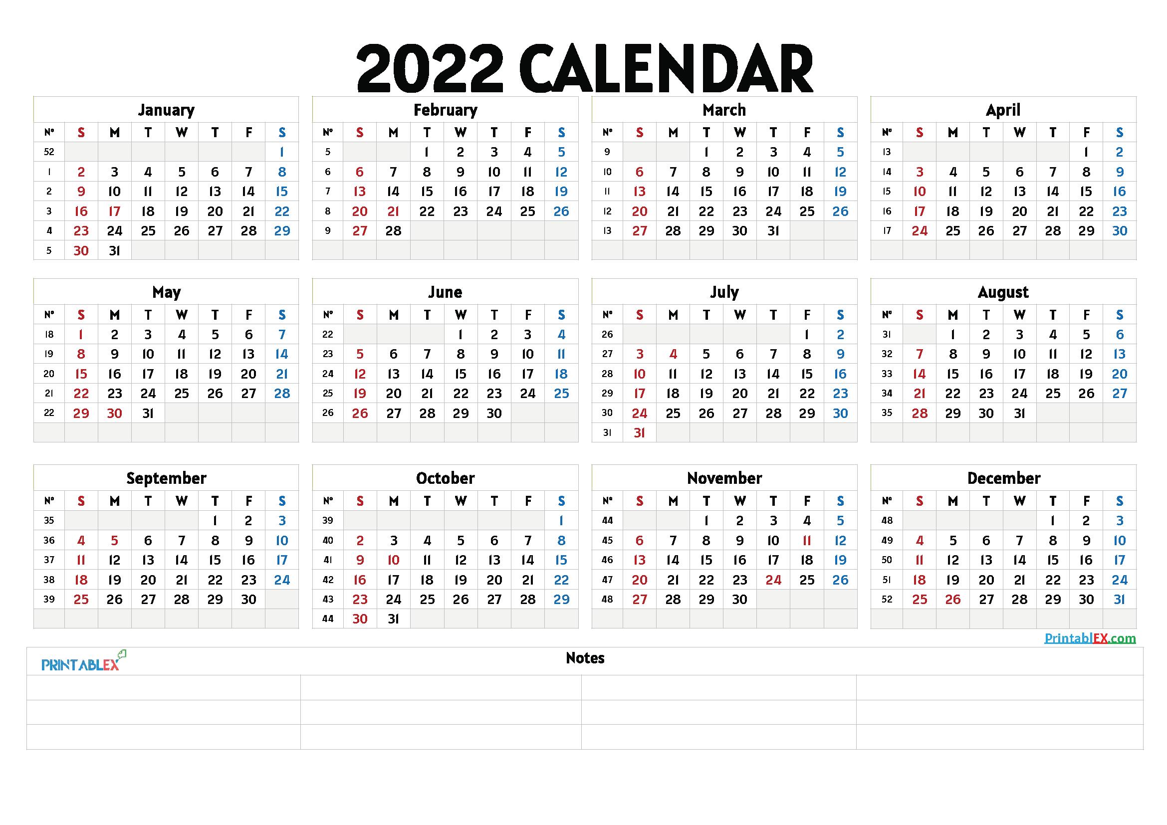 2022 Free Printable Yearly Calendar