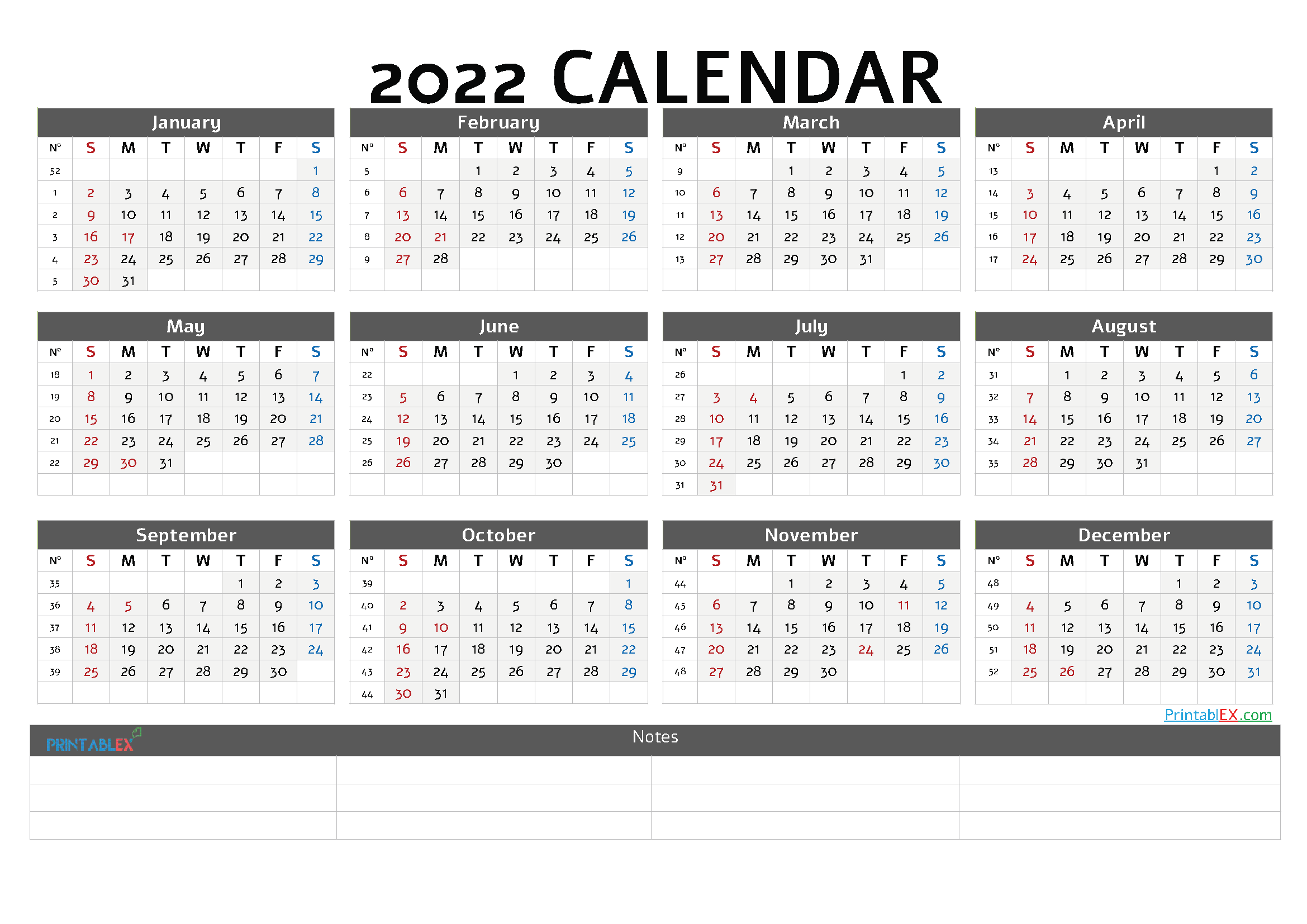 Free Printable 2022 Yearly Calendar with Week Numbers (Font: amble)