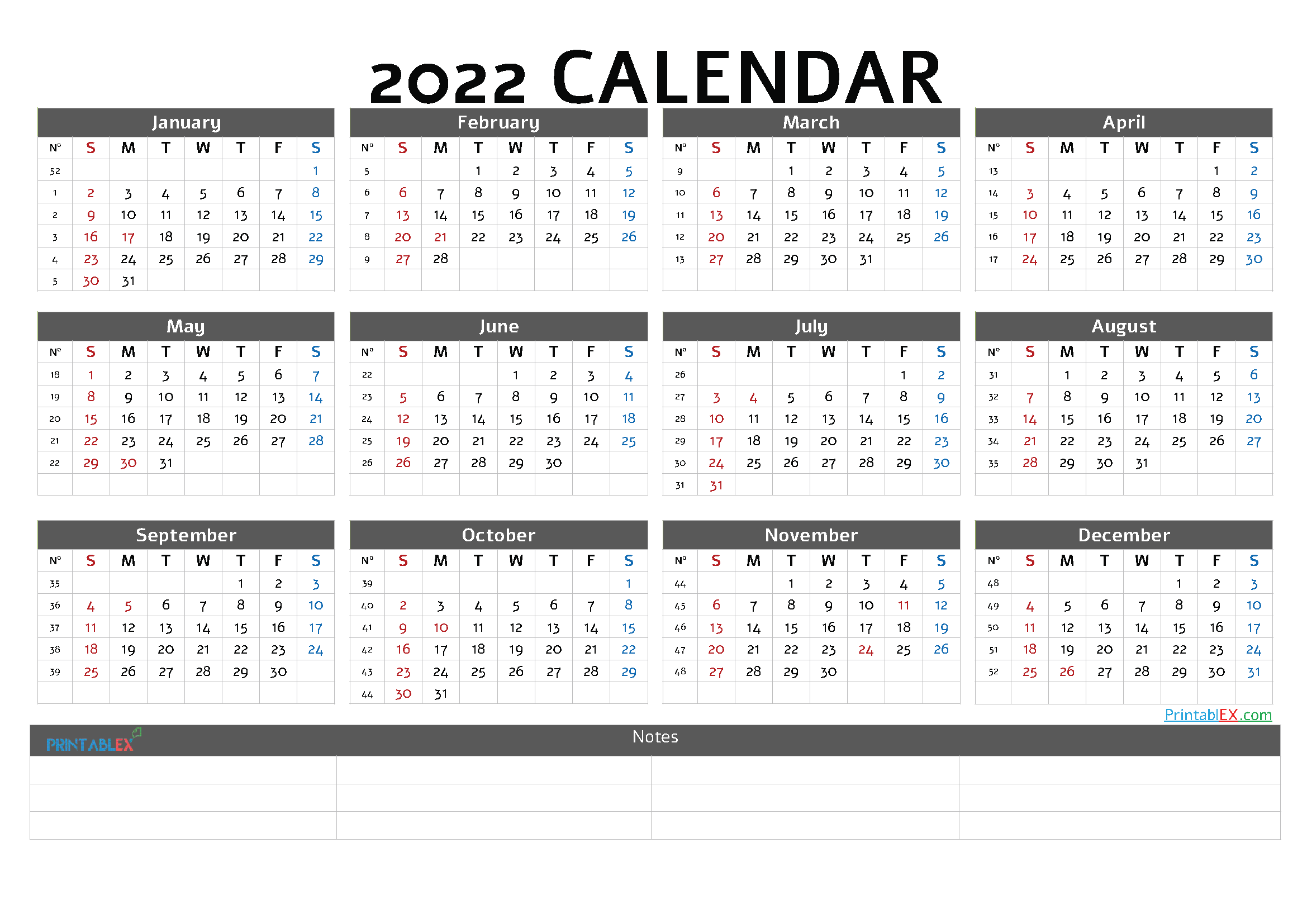 2022 Printable Yearly Calendar with Week Numbers (Font: amade)