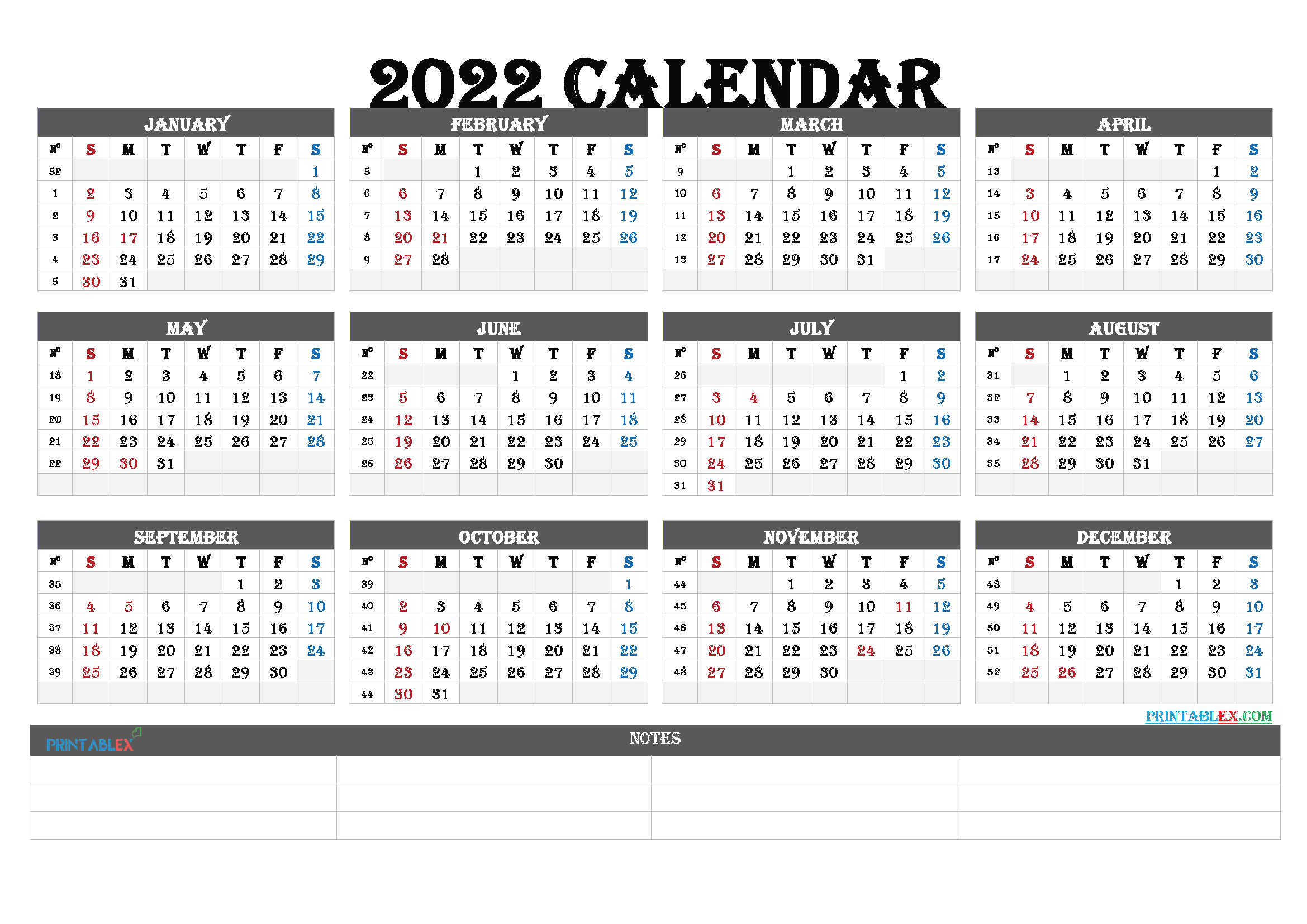 2022 Yearly Calendar Template Word