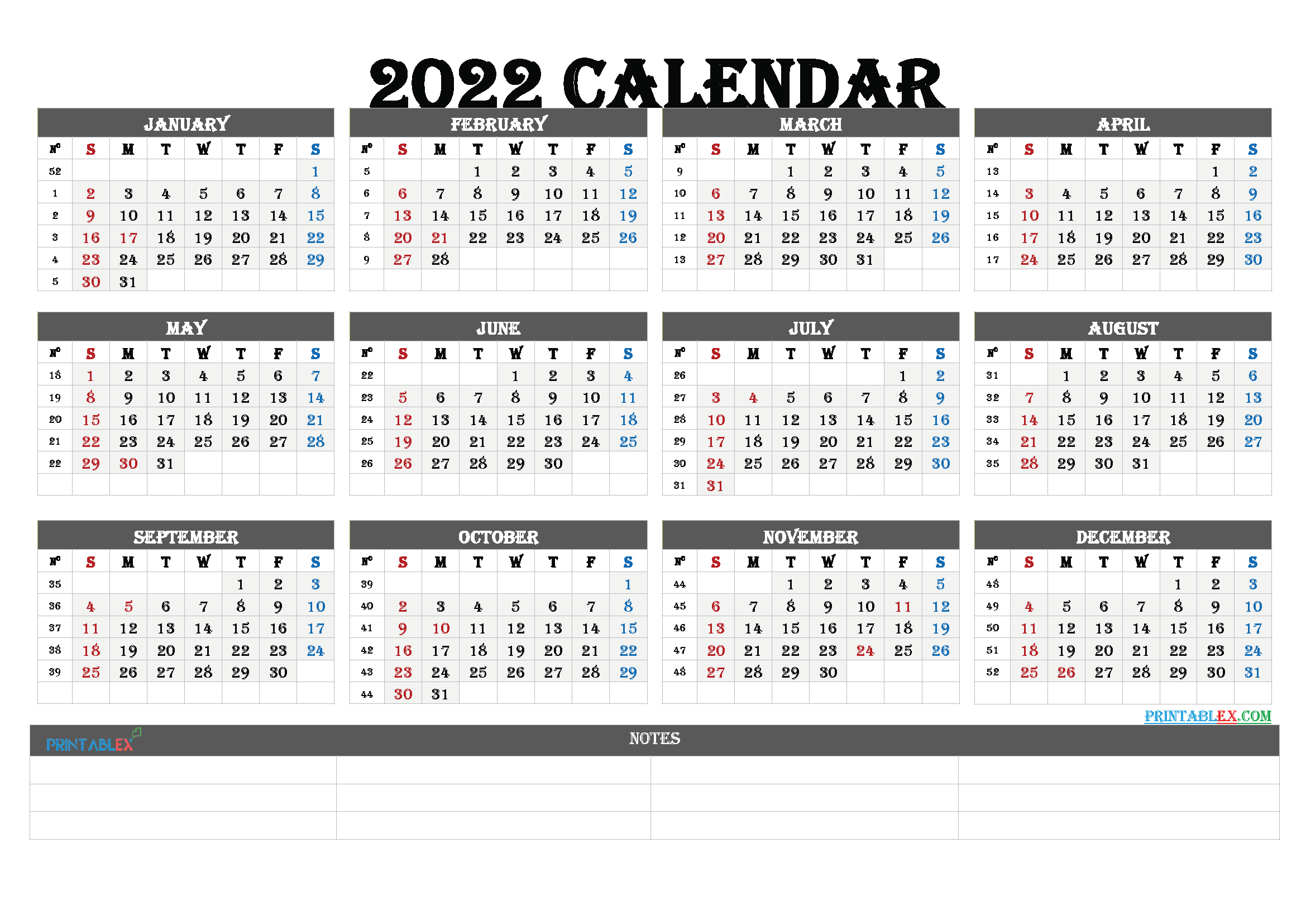 2022 Free Yearly Calendar Template PDF (Font: arial)