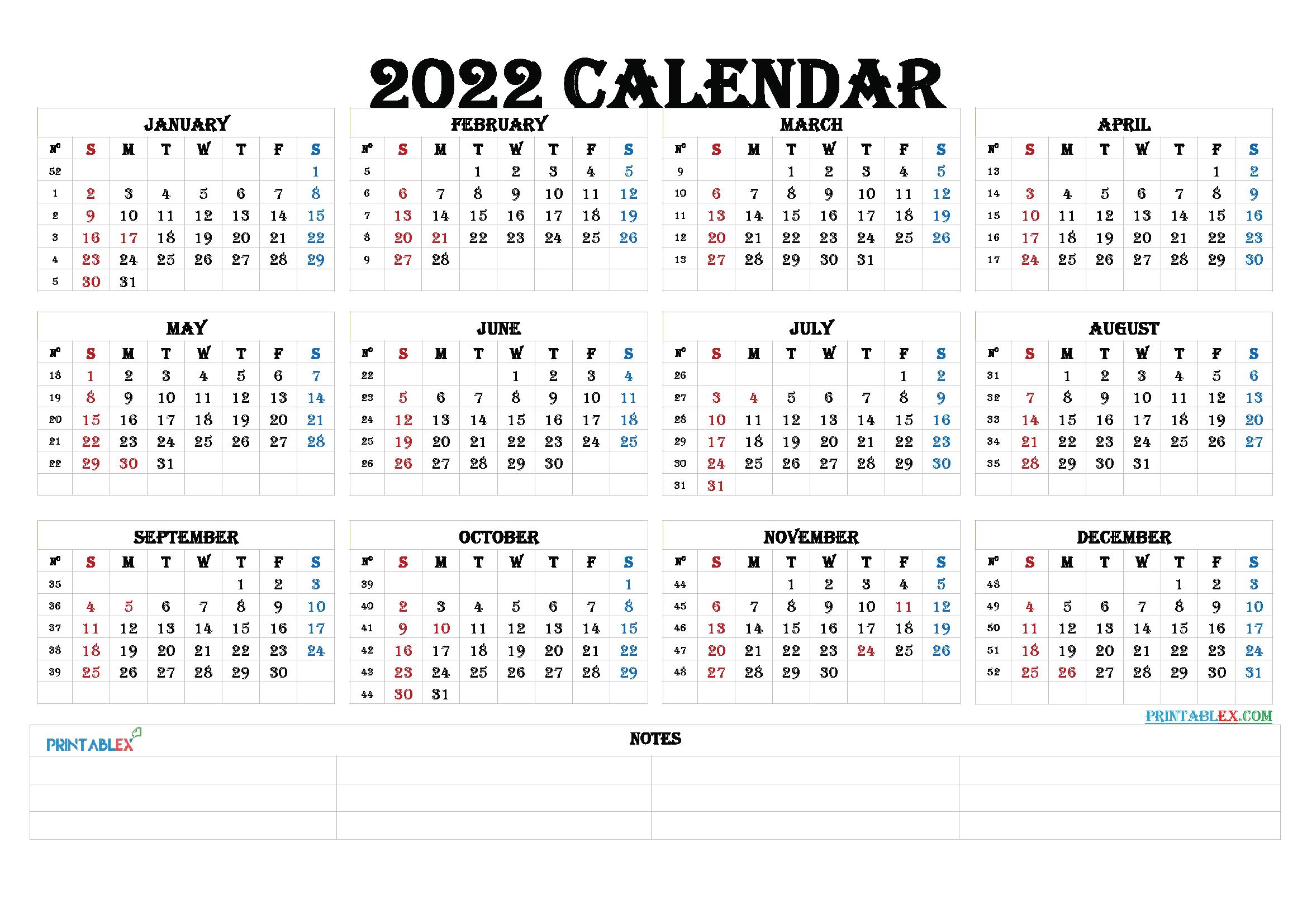 2022 Calendar With Weeks.2022 Calendar With Week Numbers Printable 2021 Free Printable
