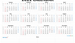 Printable 2022 Calendar by Year