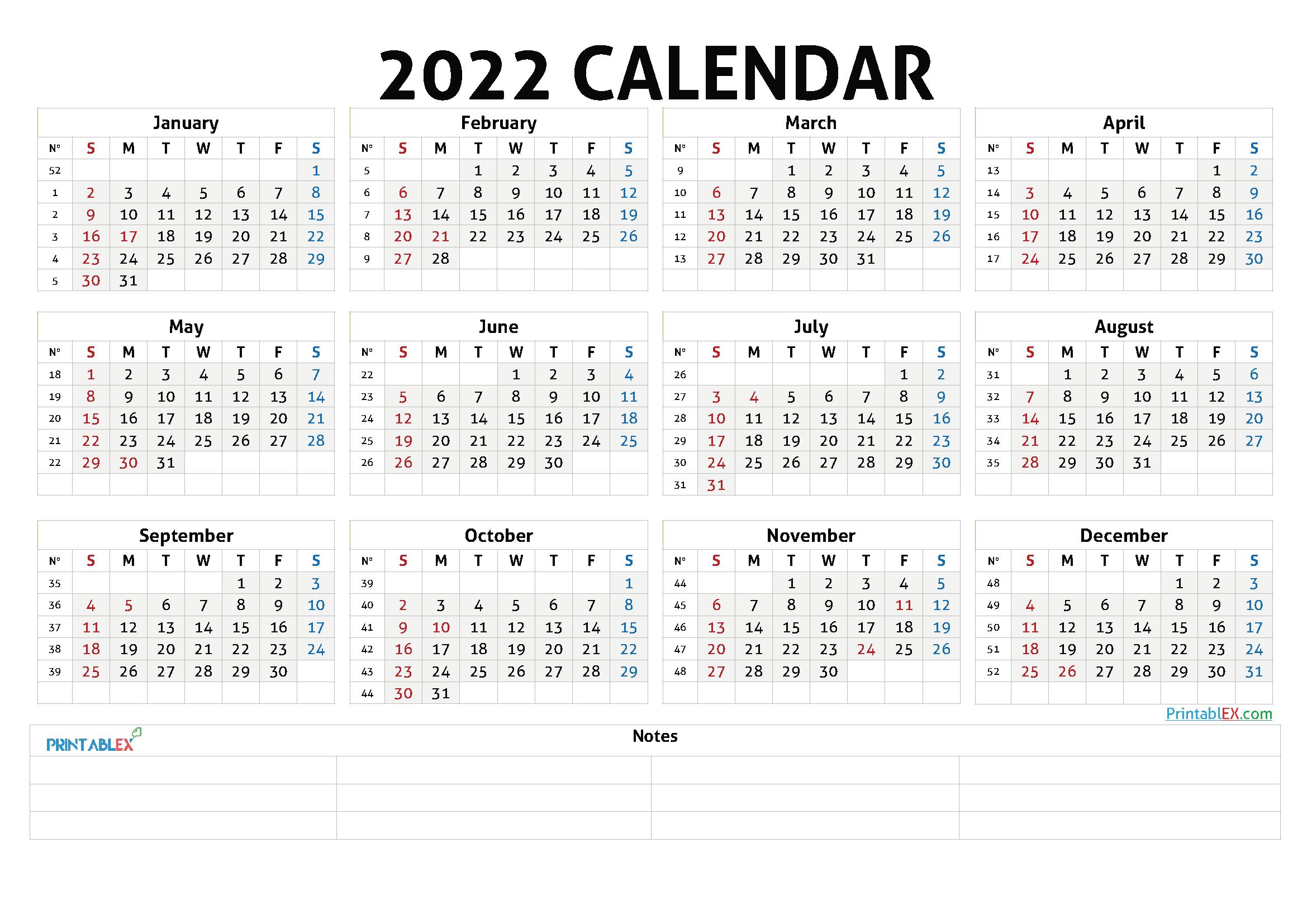 Cute Printable Calendar 2022 (Font: baron)