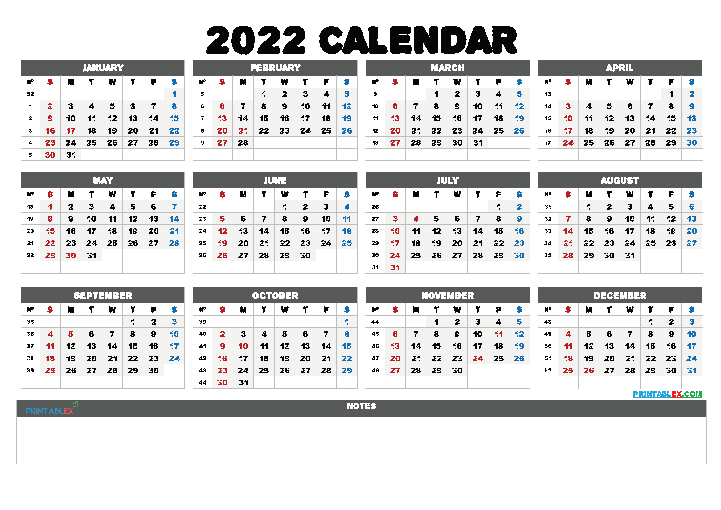 2022 Free Printable Yearly Calendar with Week Numbers (Font: beatg)
