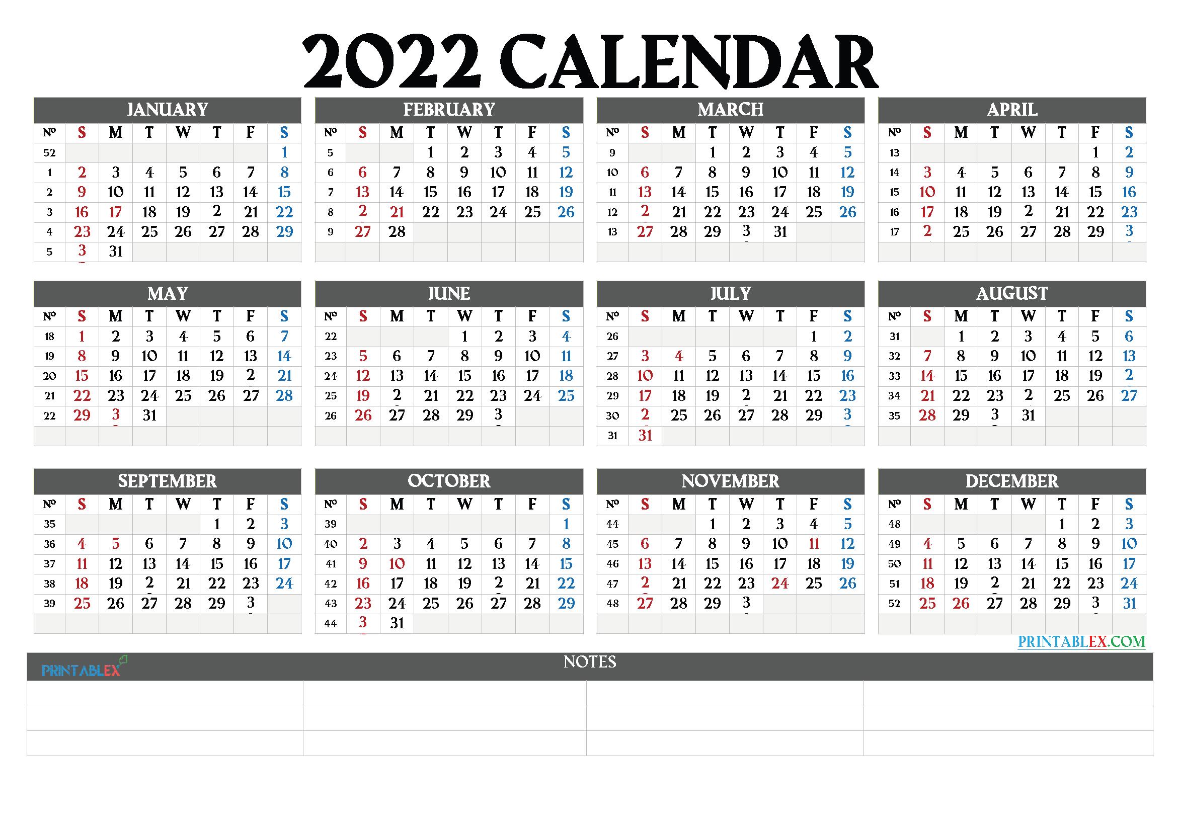 2022 Calendar By Week.Printable 2022 Yearly Calendar With Week Numbers 2021 Free Printable