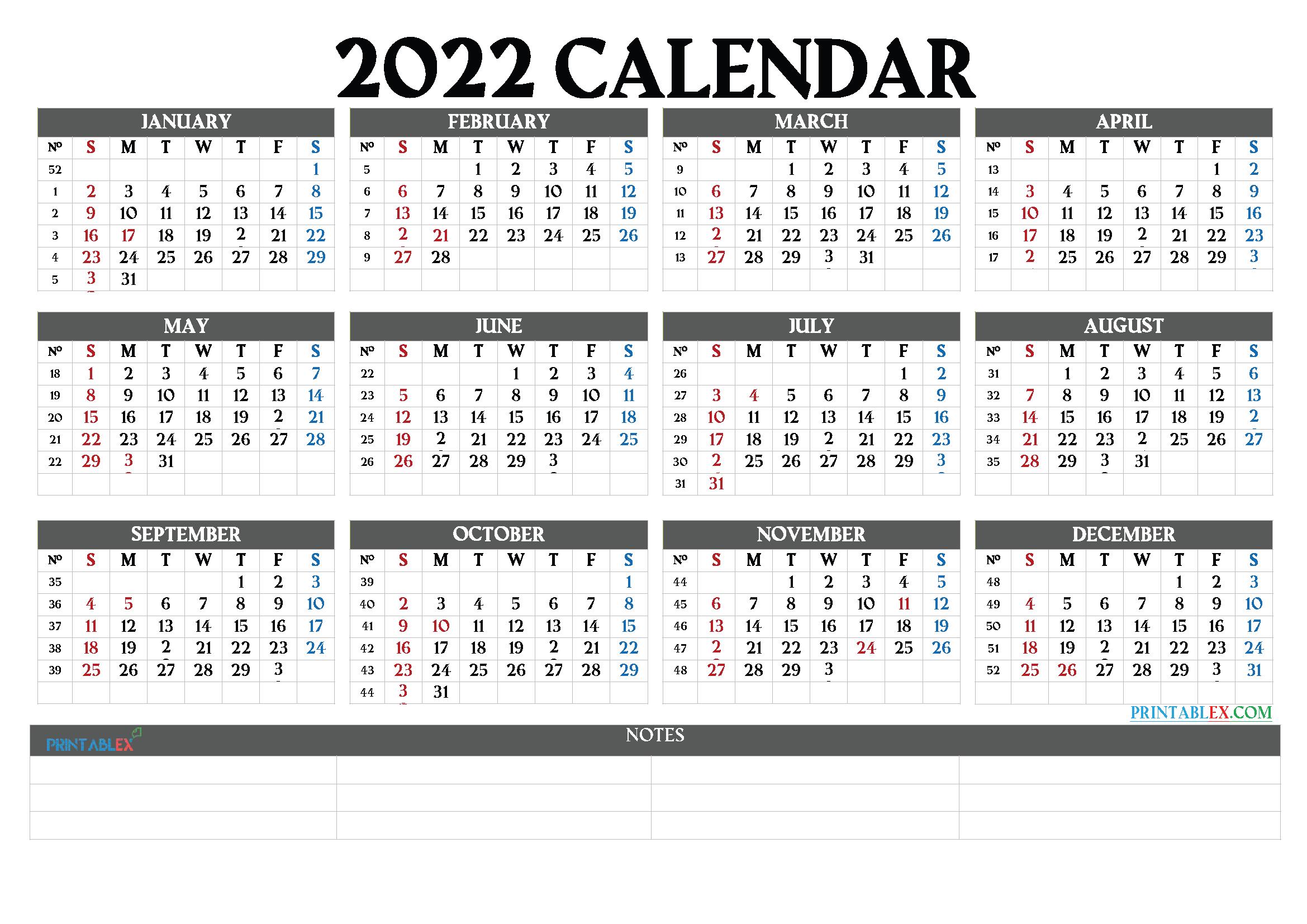 2022 Calendar with Week Numbers Printable (Font: broad)