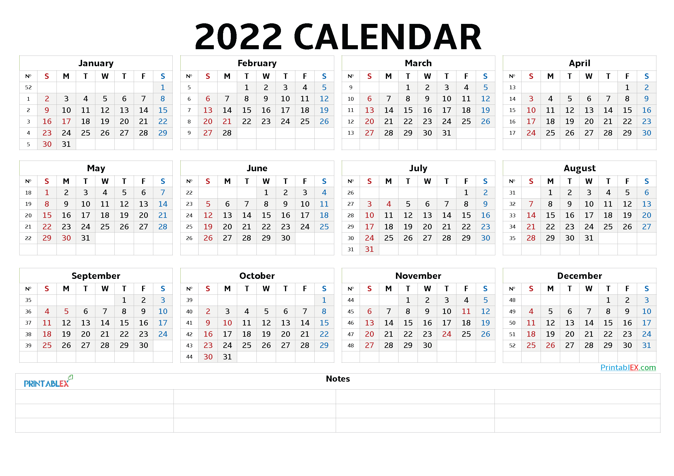 2022 Free Printable Yearly Calendar with Week Numbers (Font: credi)