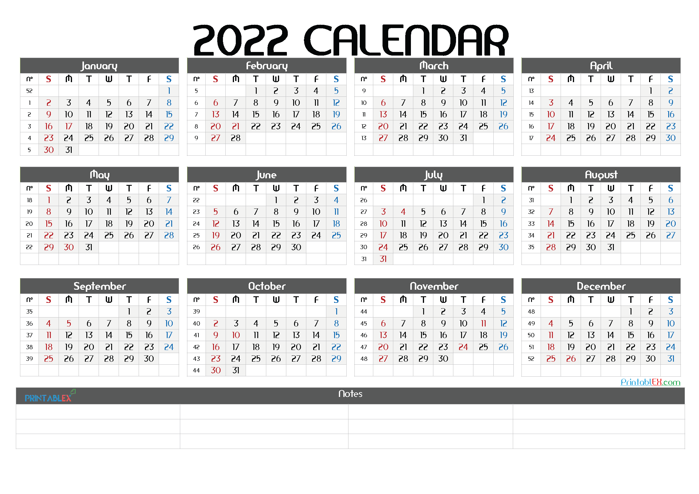 Free Printable 2022 Yearly Calendar with Week Numbers (Font: curlz)