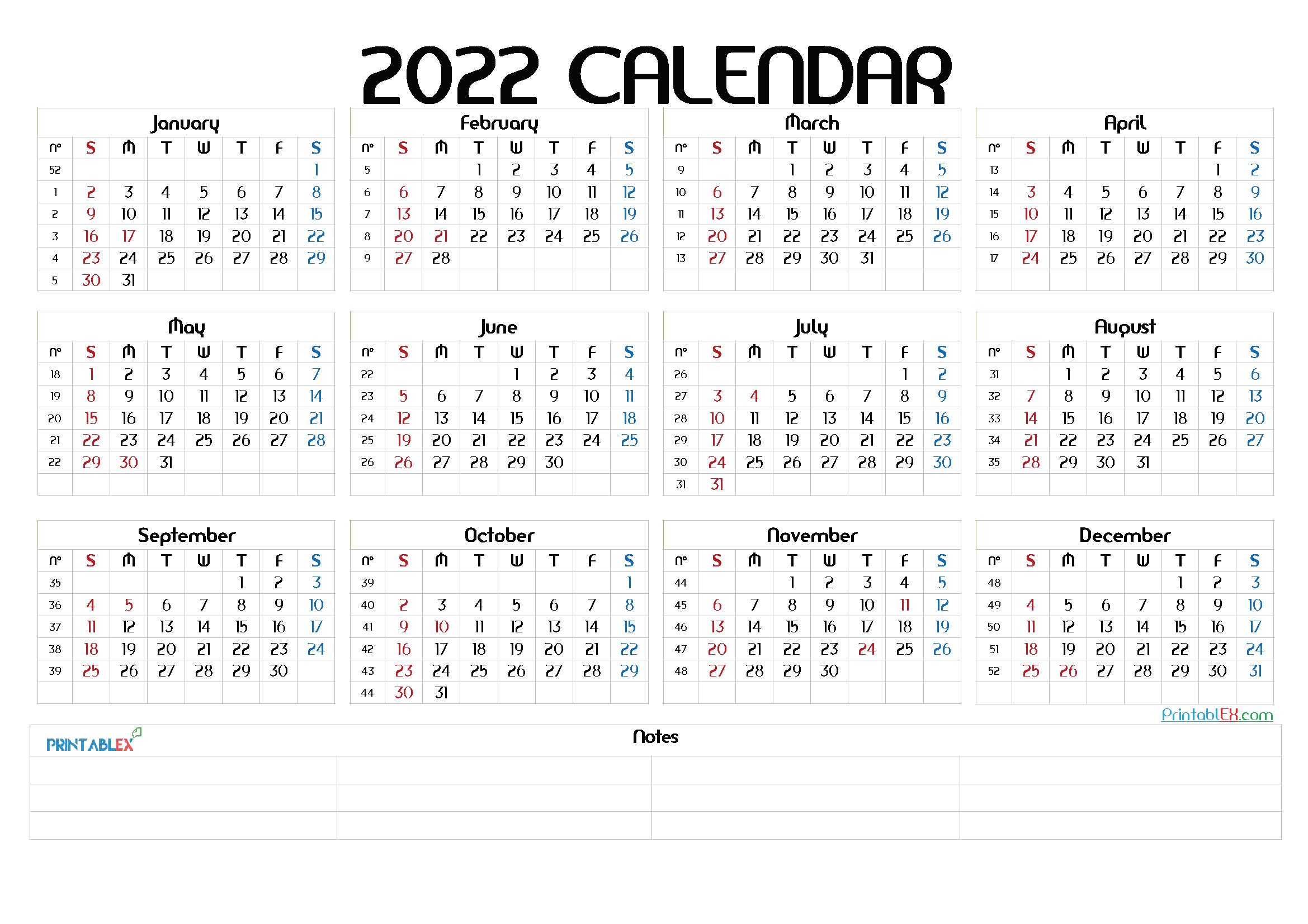 Printable 2022 Yearly Calendar