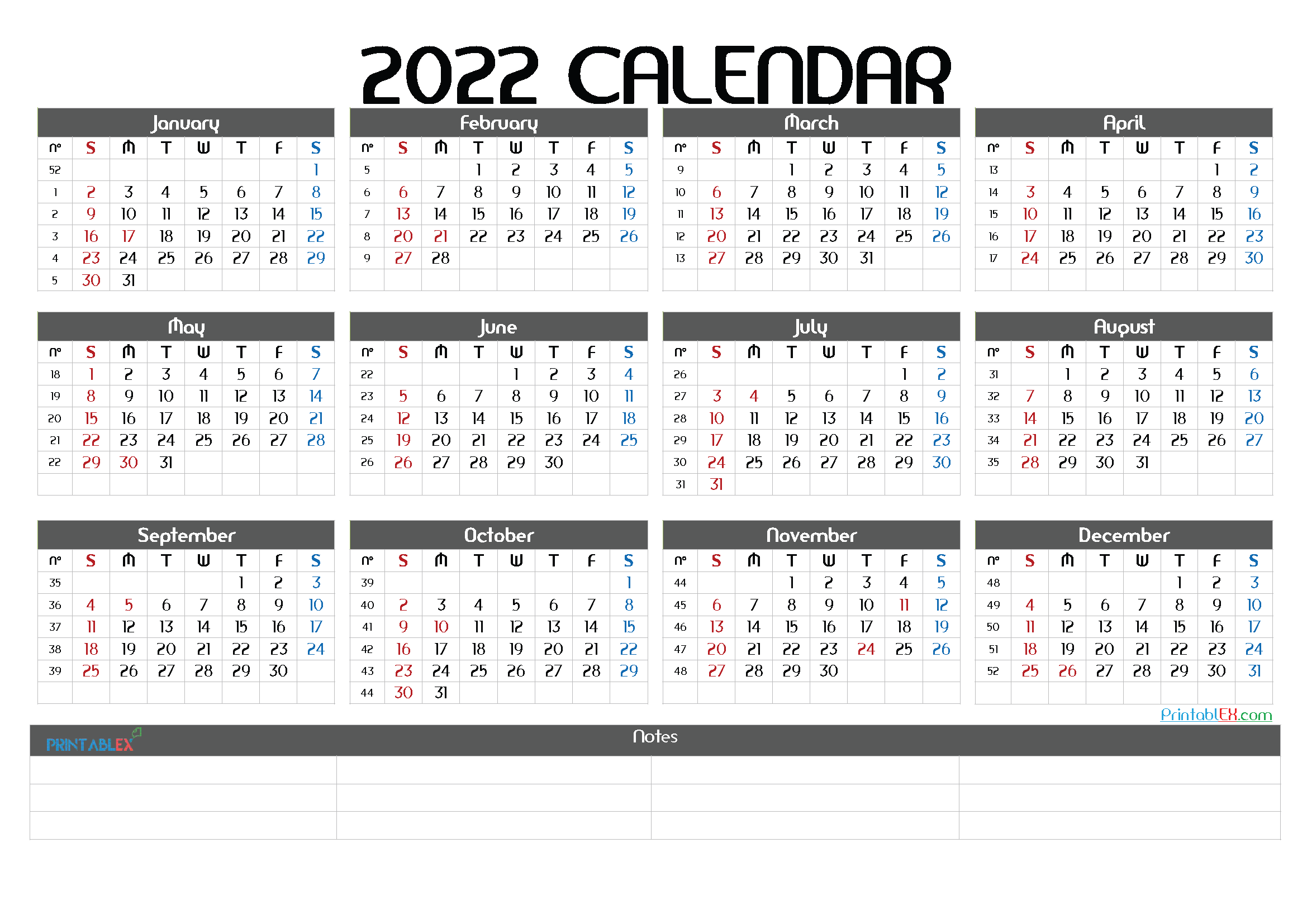2022 Printable Yearly Calendar with Week Numbers (Font: crois)