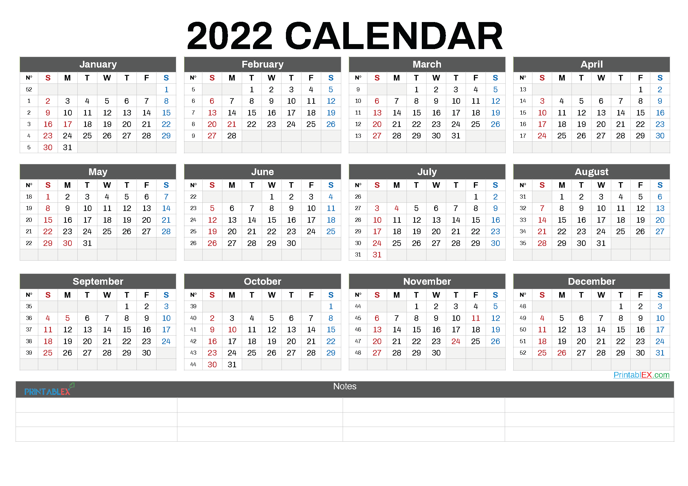 Free Printable 2022 Calendar by Year (Font: dsdig)