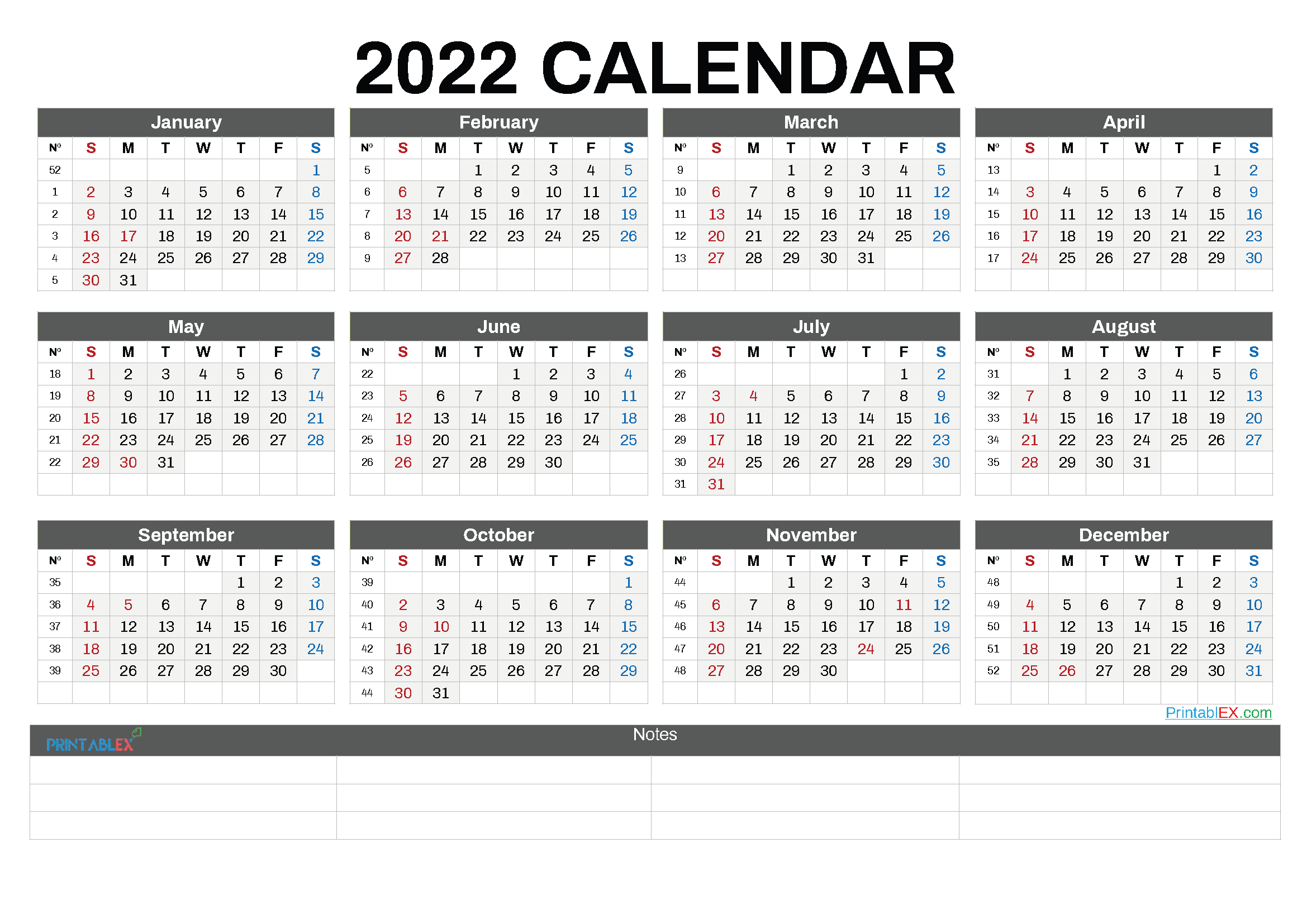Printable 2022 Calendar by Month