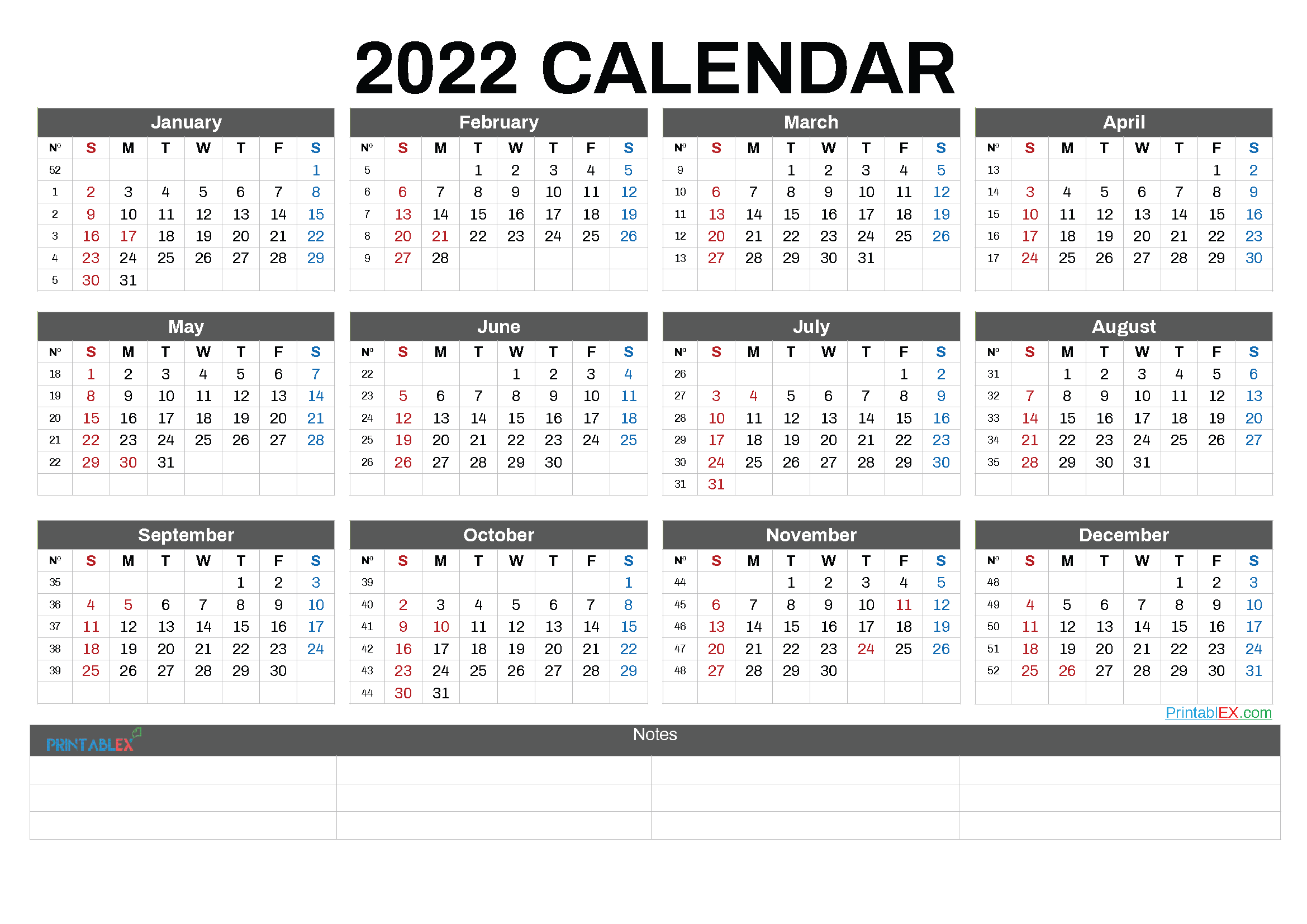 Free Printable 2022 Calendar by Month (Font: droid)