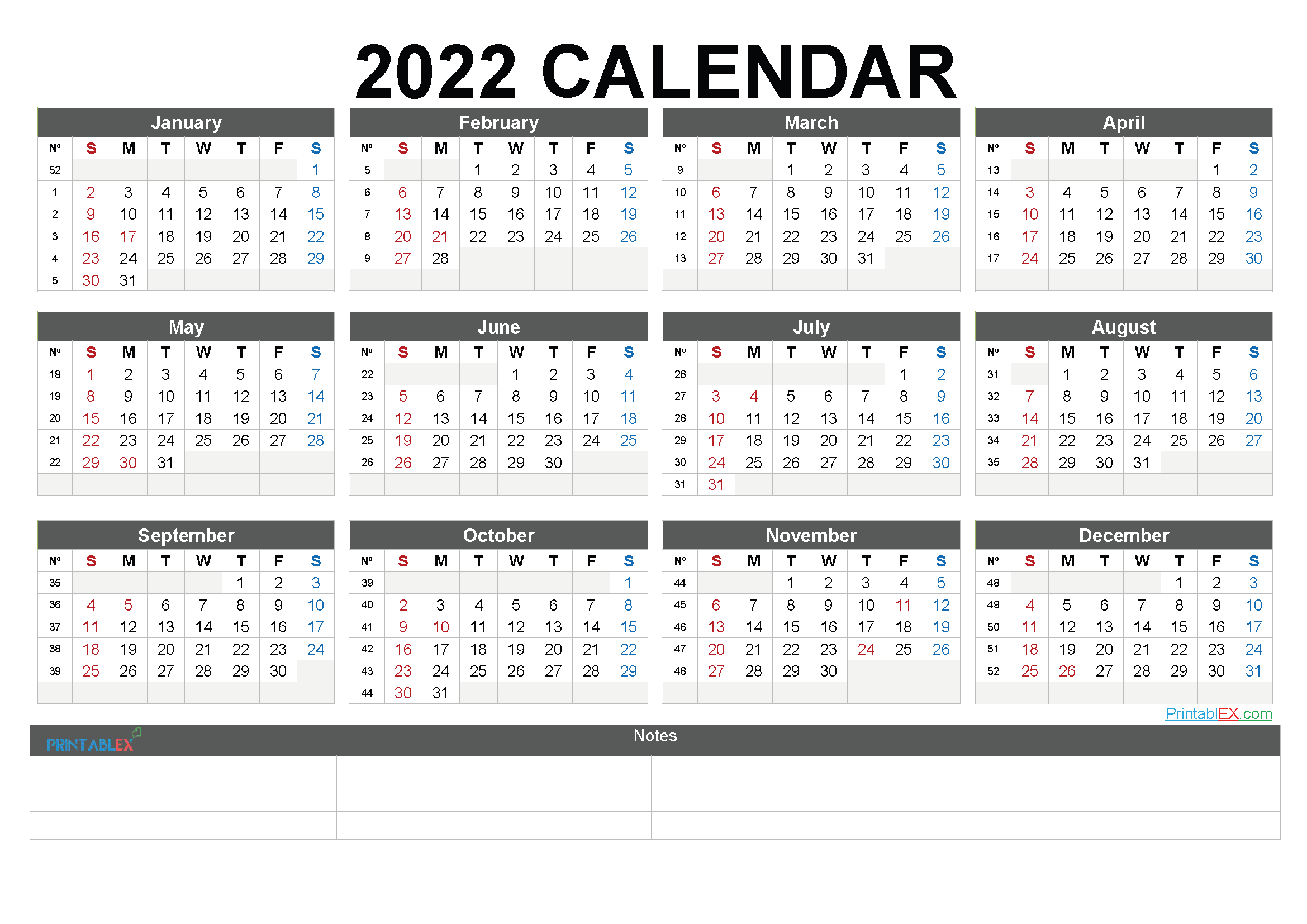 2022 Free Printable Yearly Calendar (Font: exple)