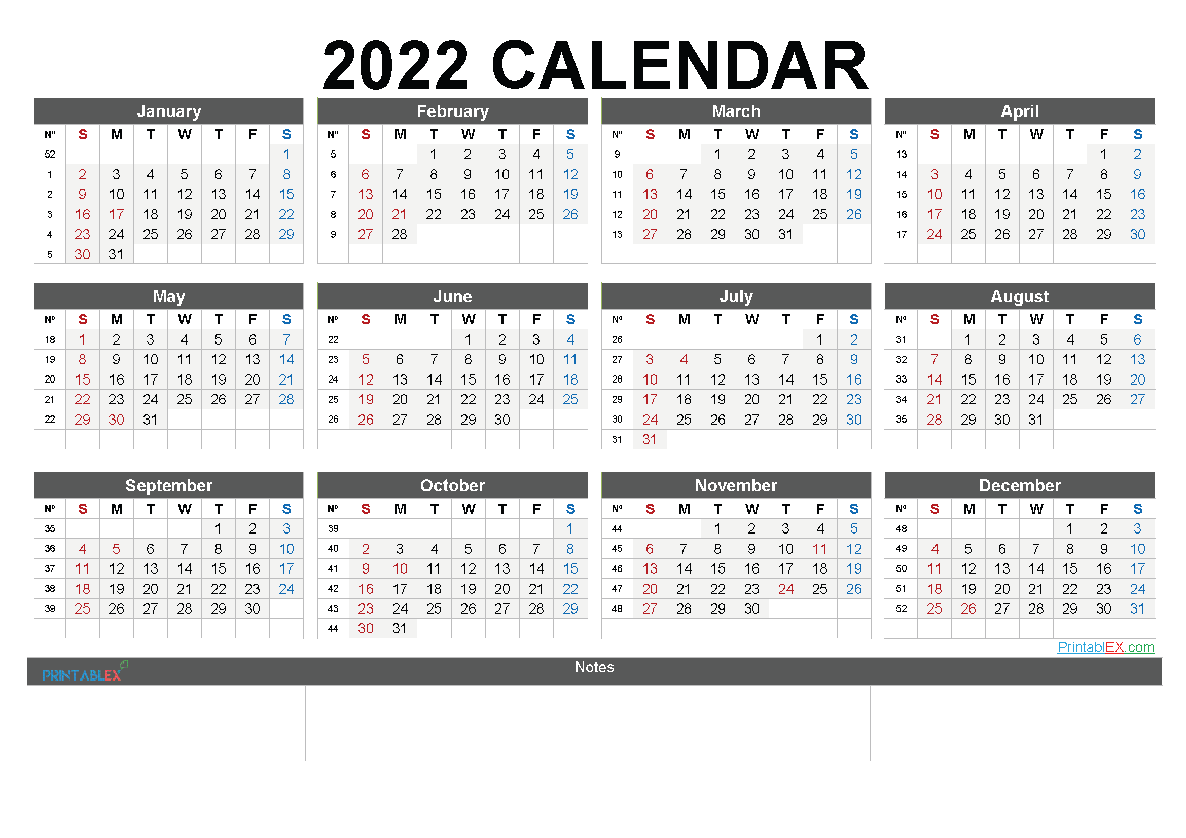 2022 Free Printable Yearly Calendar with Week Numbers (Font: faste)