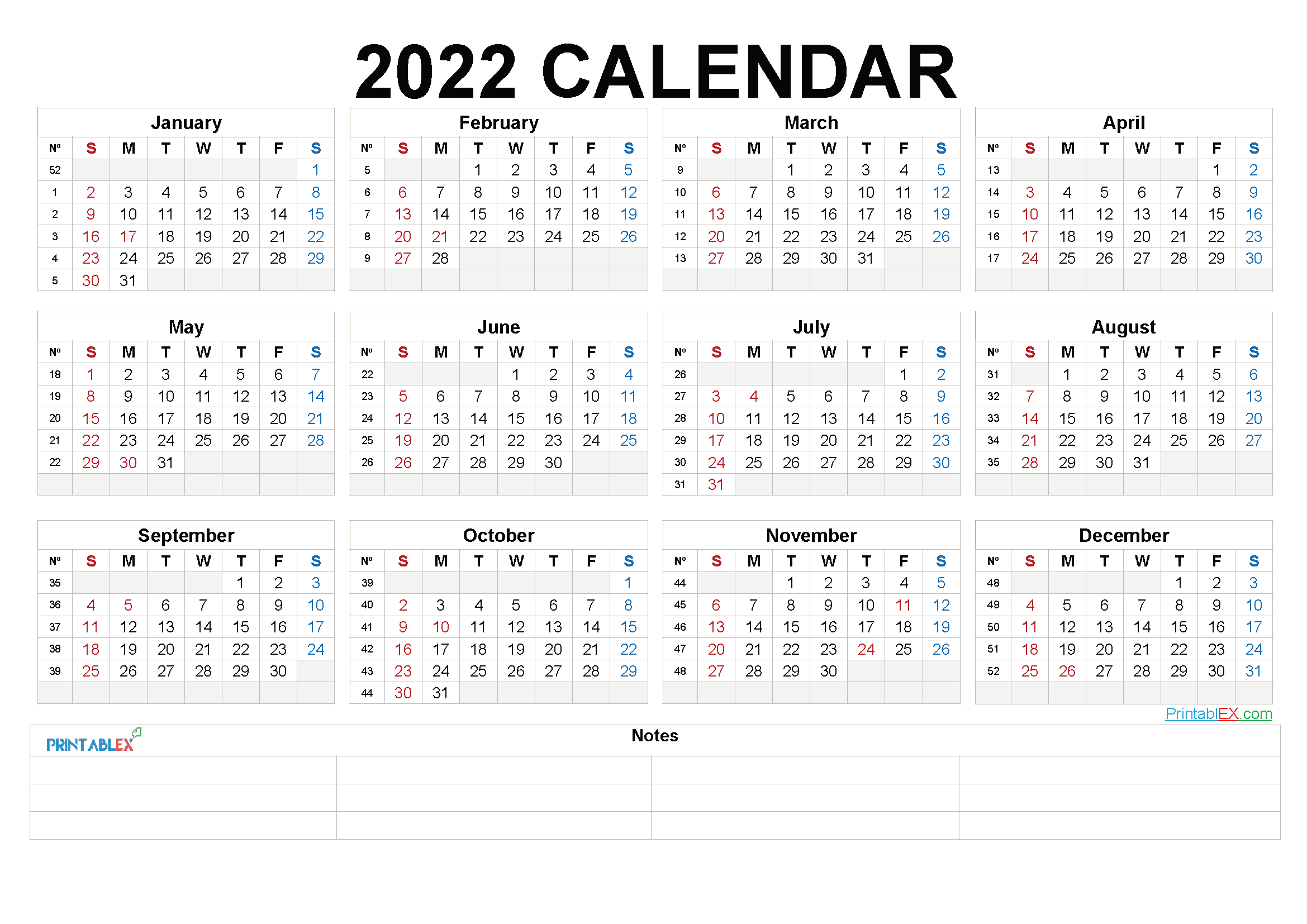 Free Printable 2022 Yearly Calendar (Font: finge)