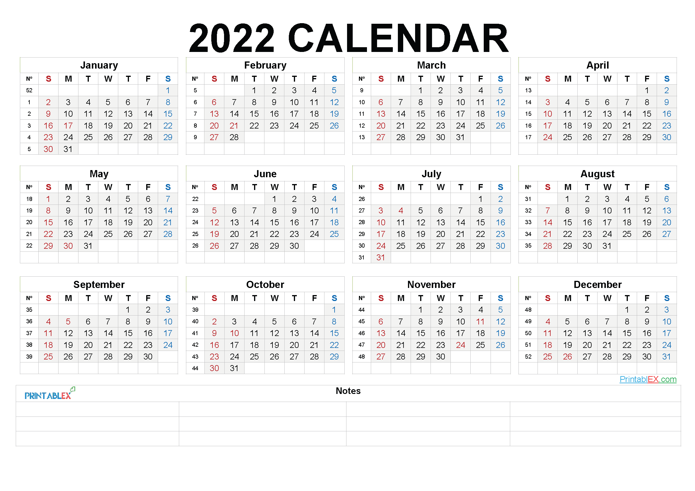Free Printable 2022 Yearly Calendar with Week Numbers (Font: flake)