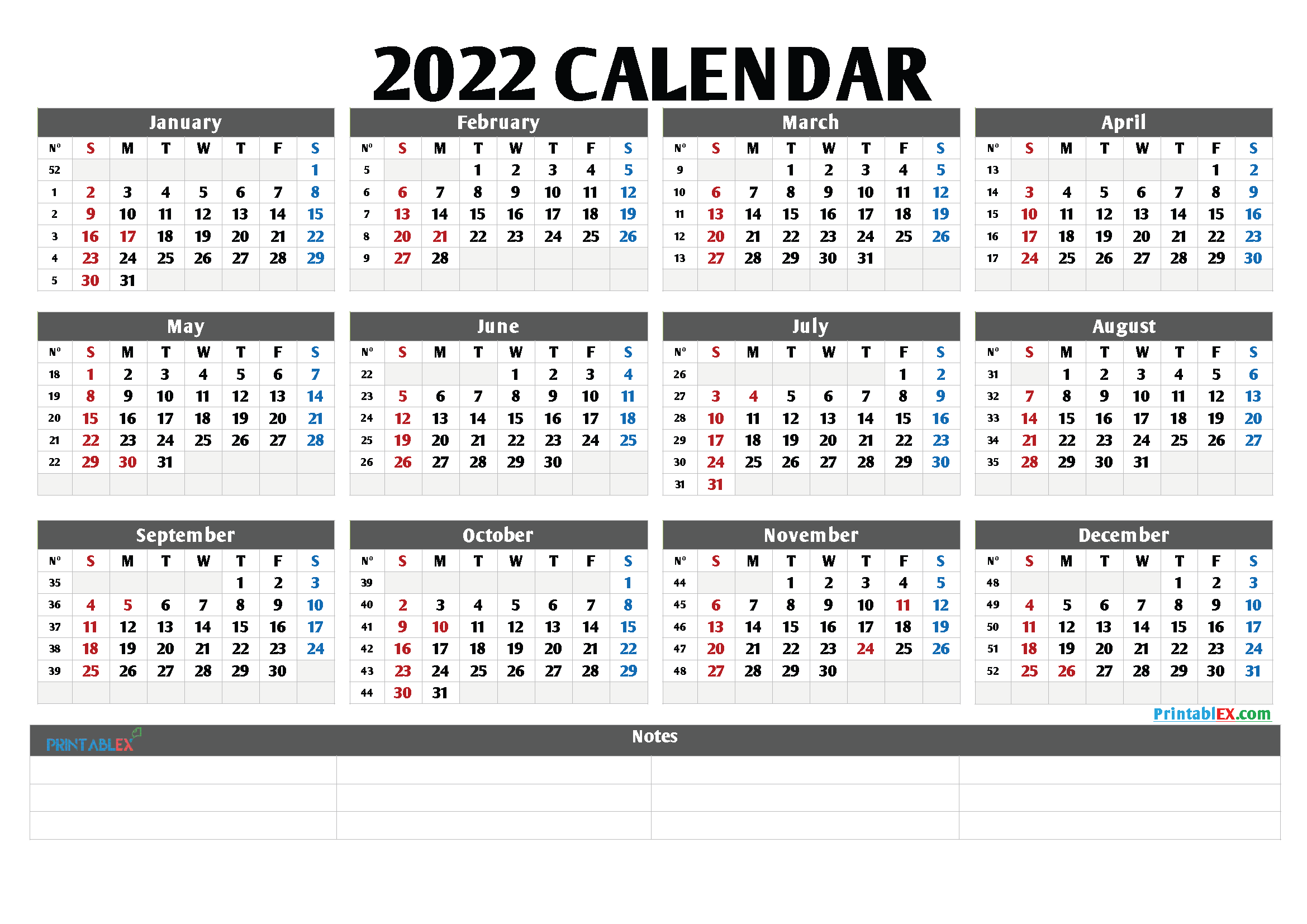 Printable 2022 Yearly Calendar with Week Numbers (Font: freem)