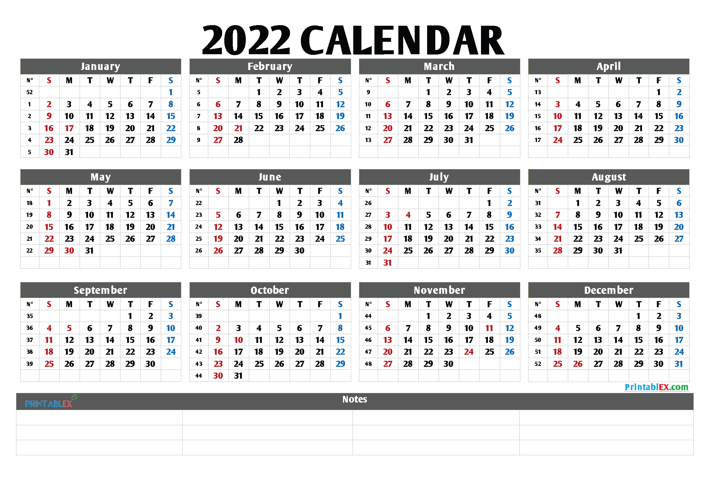 Printable 2022 Yearly Calendar (Font: forte)