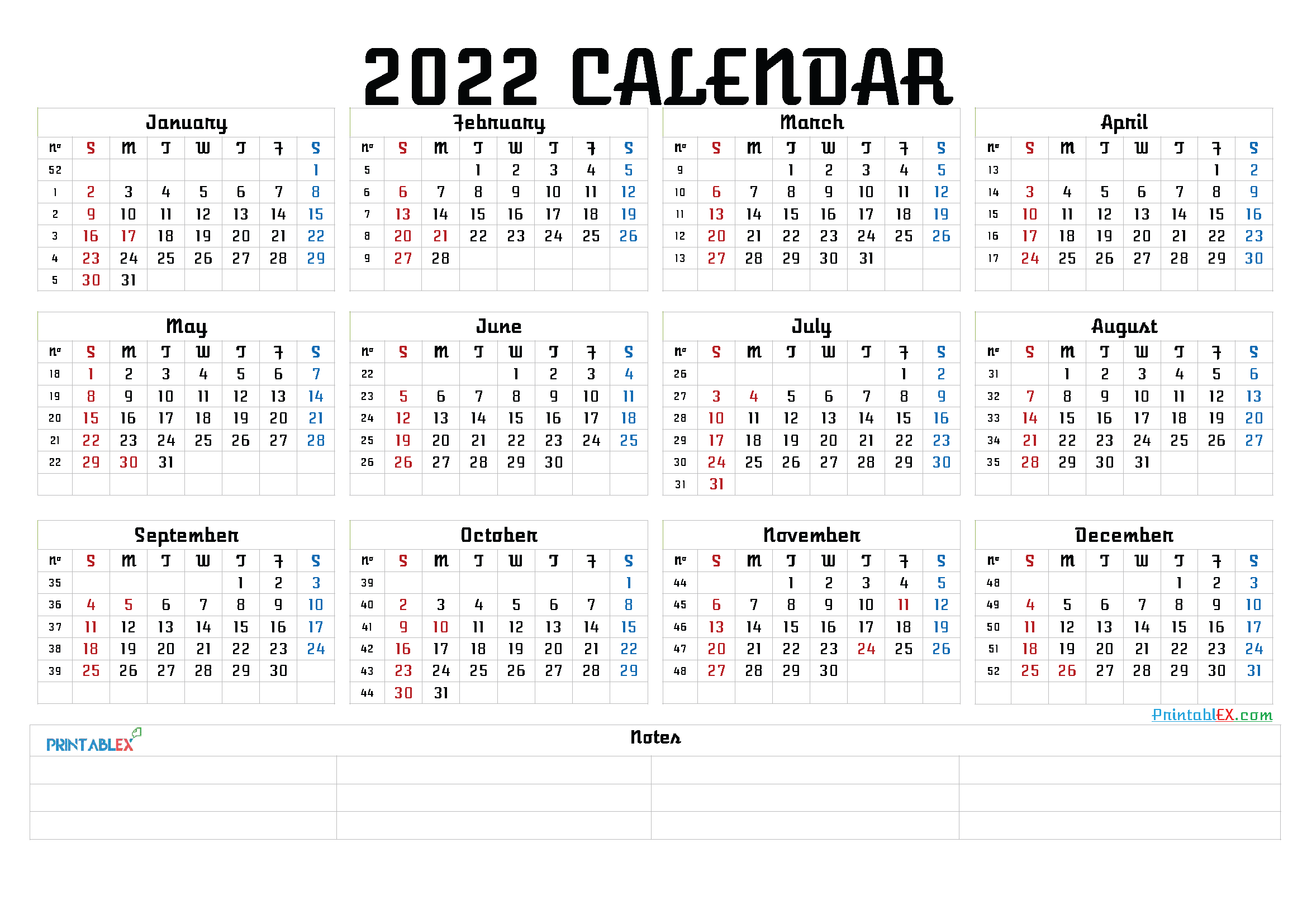 Free Printable 2022 Calendar by Month (Font: georg)