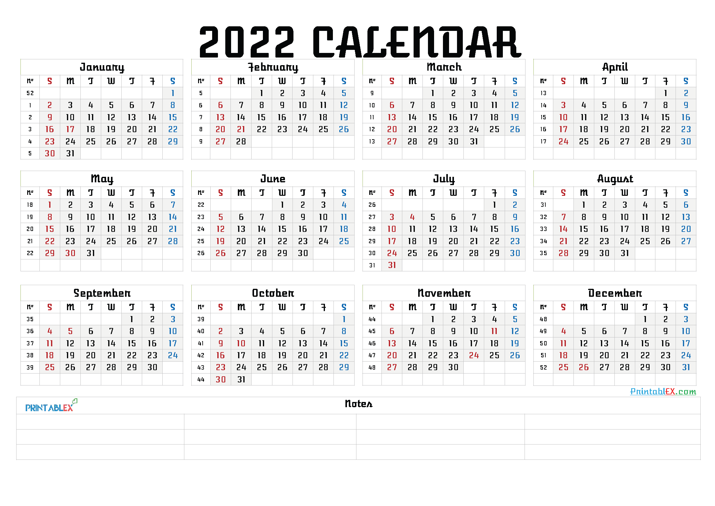 Printable 2022 Calendar by Month (Font: ghous)