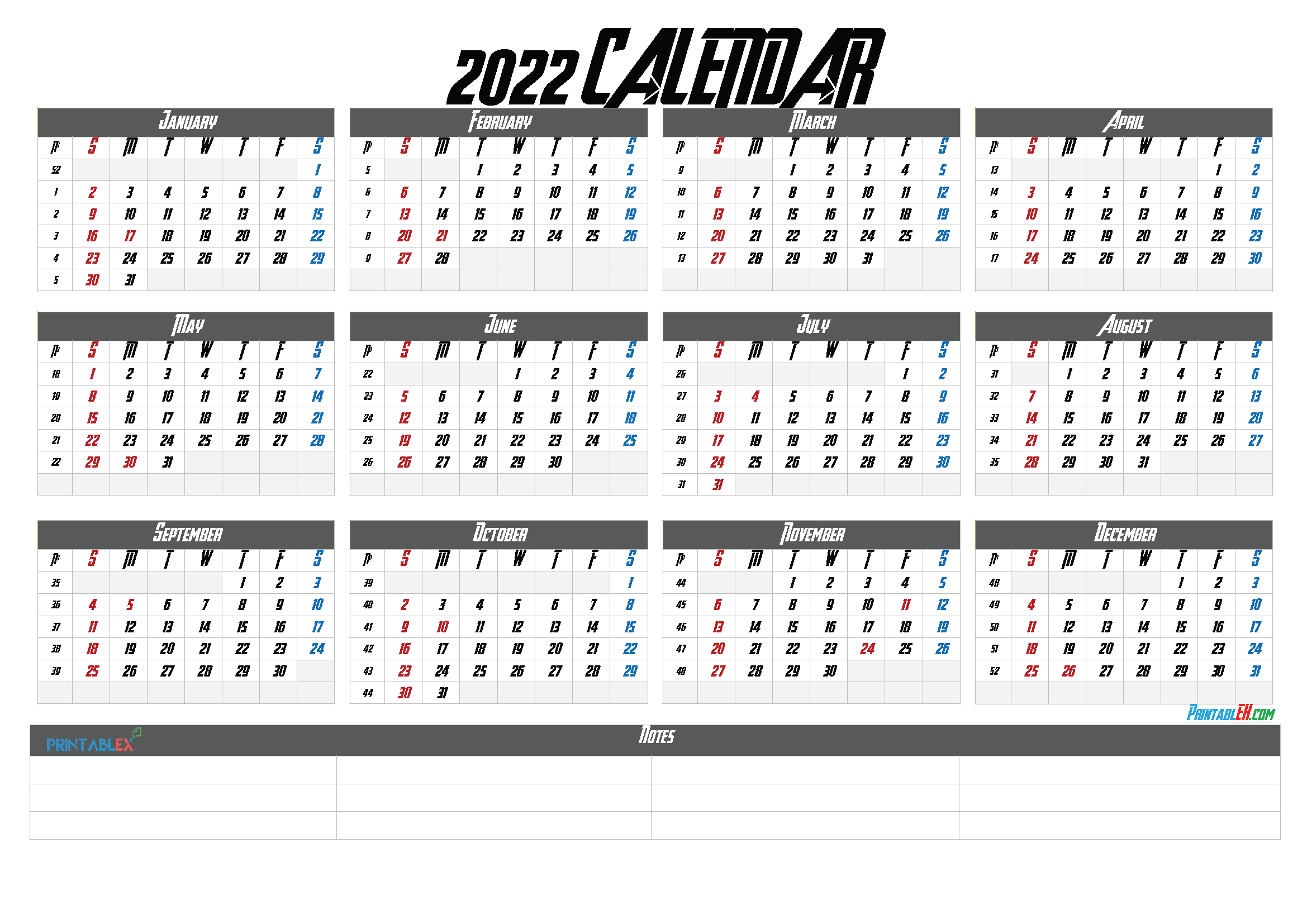 Free Printable 2022 Yearly Calendar (Font: griffo)