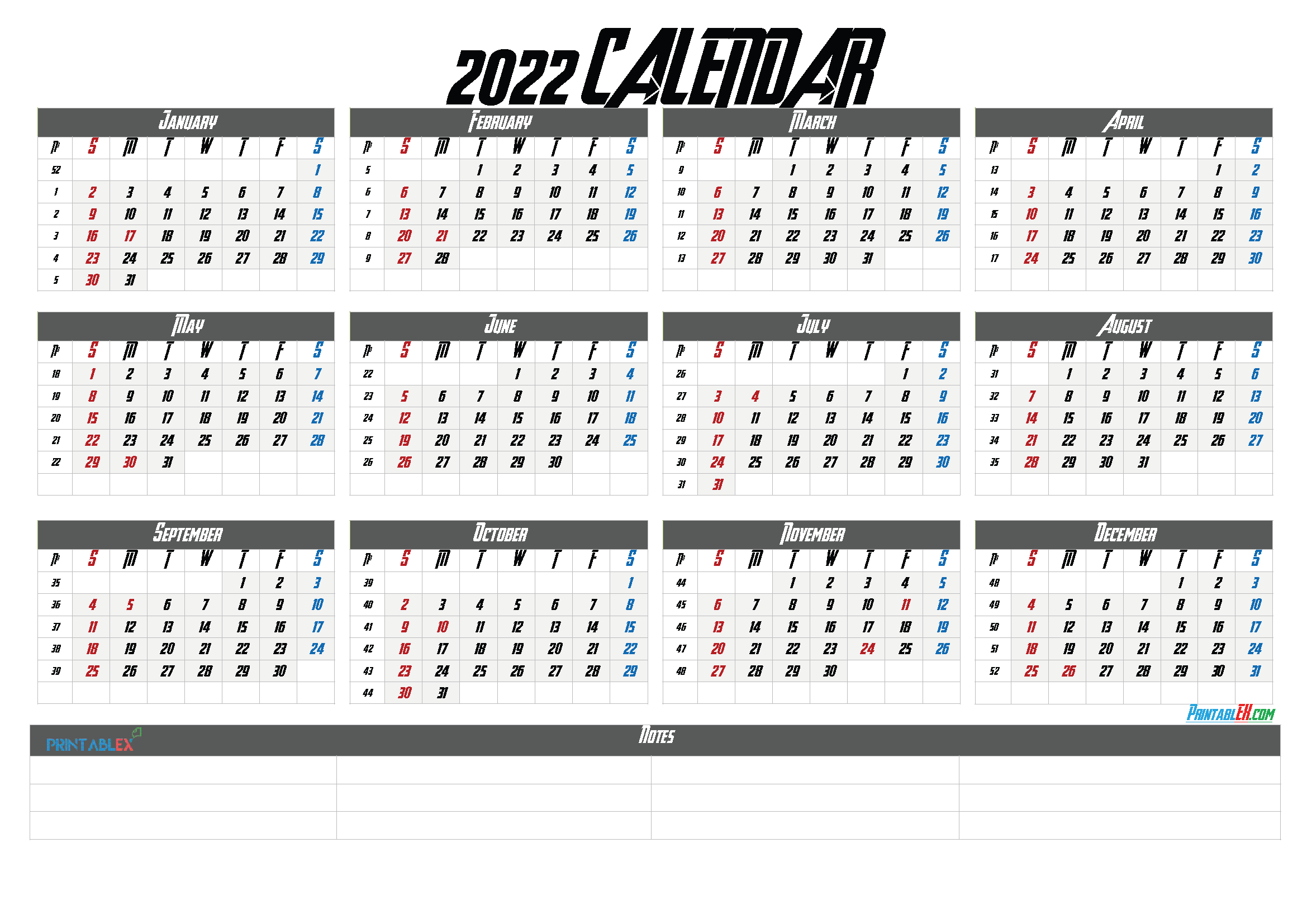 Free Printable 2022 Yearly Calendar with Week Numbers (Font: grobo)