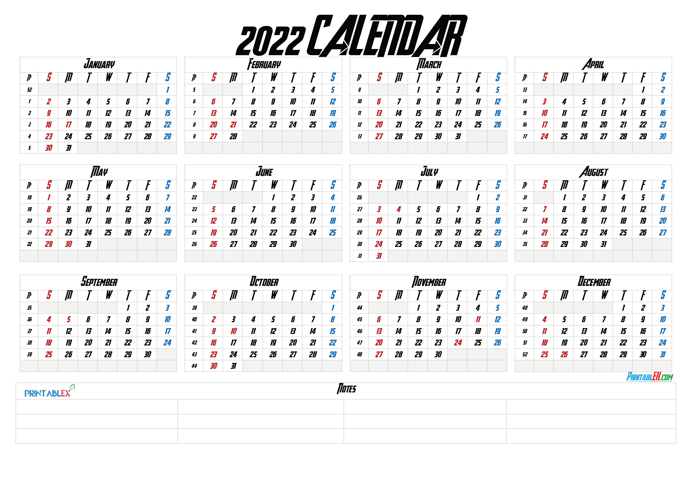 Printable 2022 Yearly Calendar with Week Numbers (Font: handl)