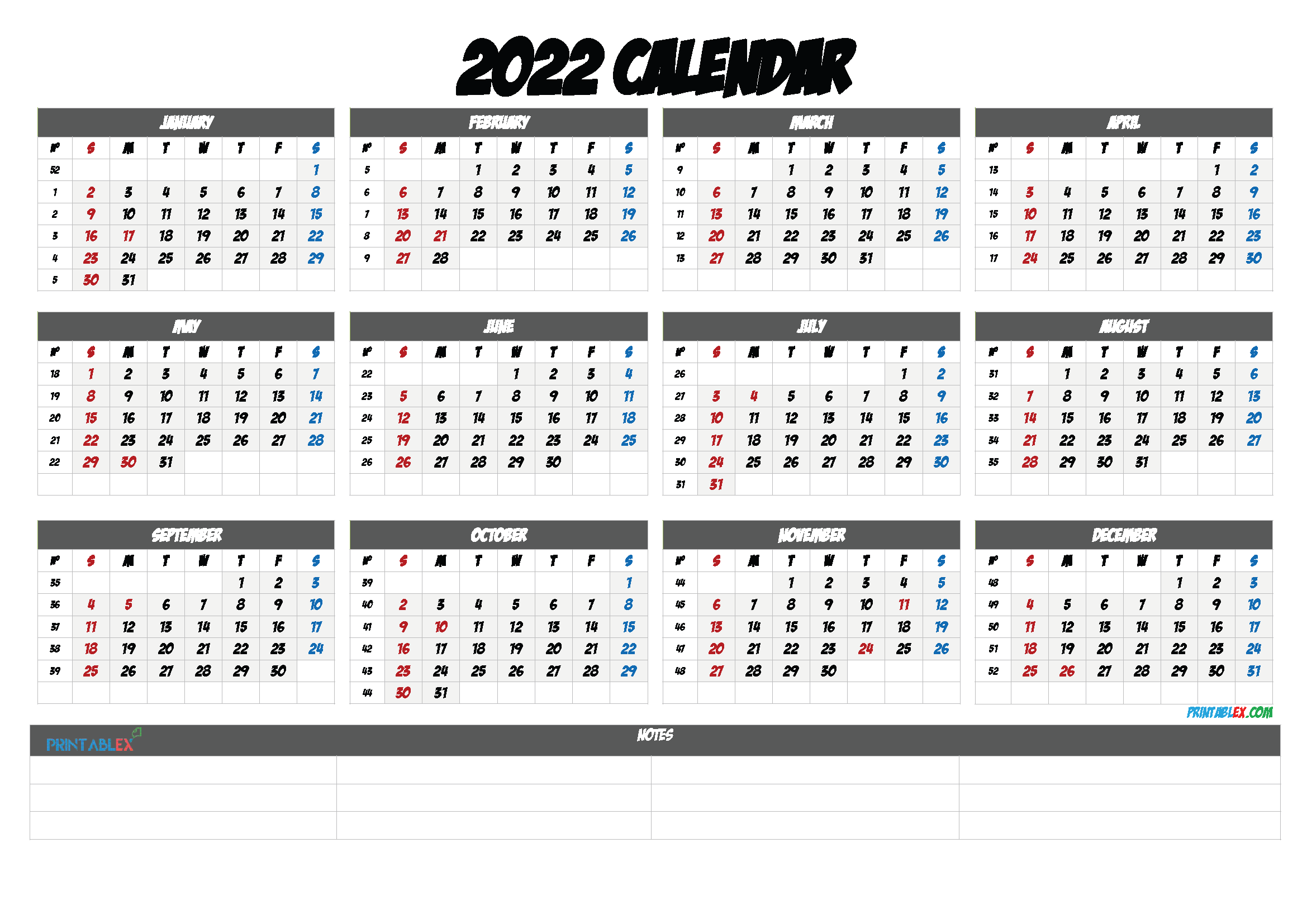 2022 Free Yearly Calendar Template PDF (Font: hayde)