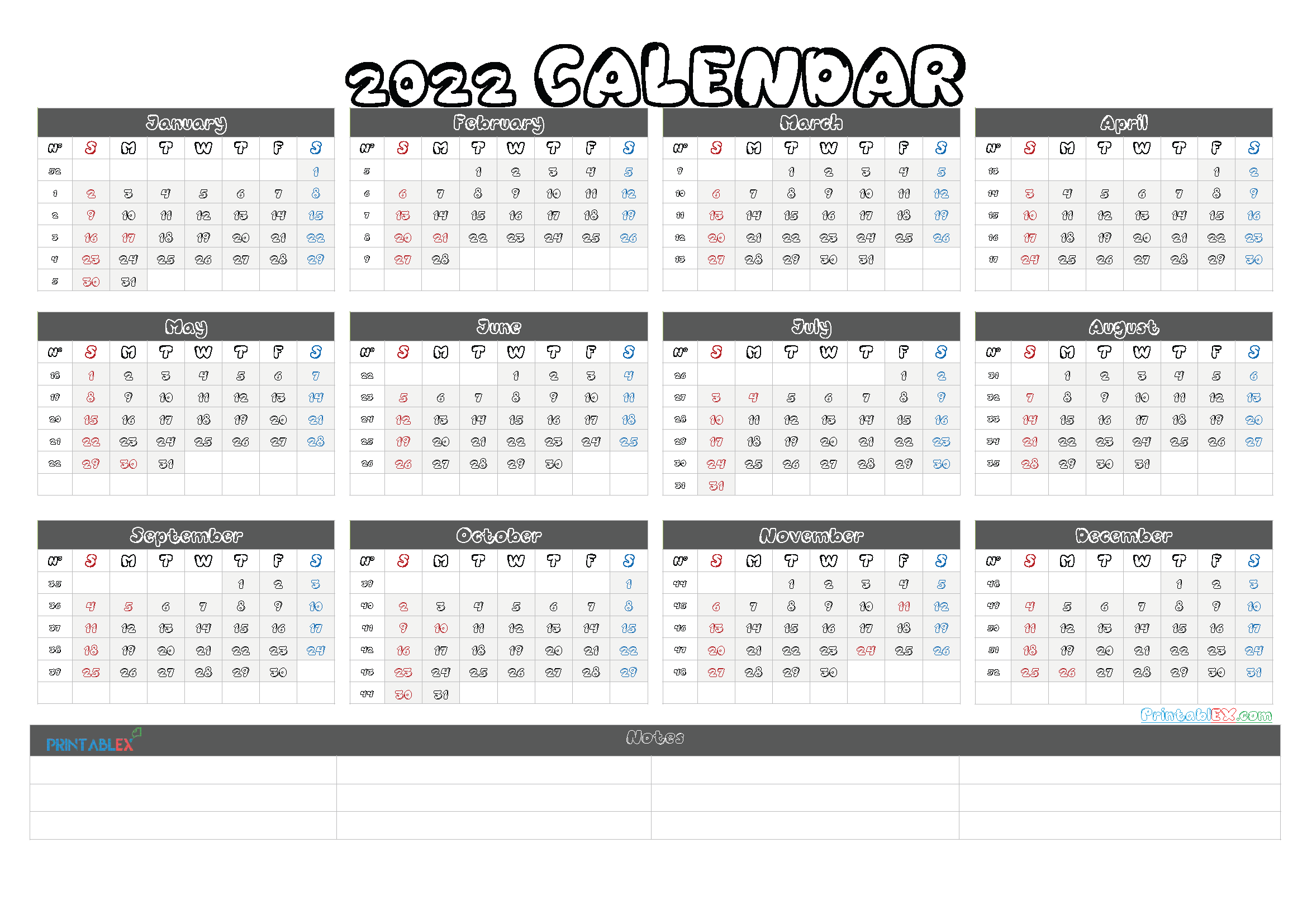 Printable 2022 Calendar by Month (Font: hvdco)