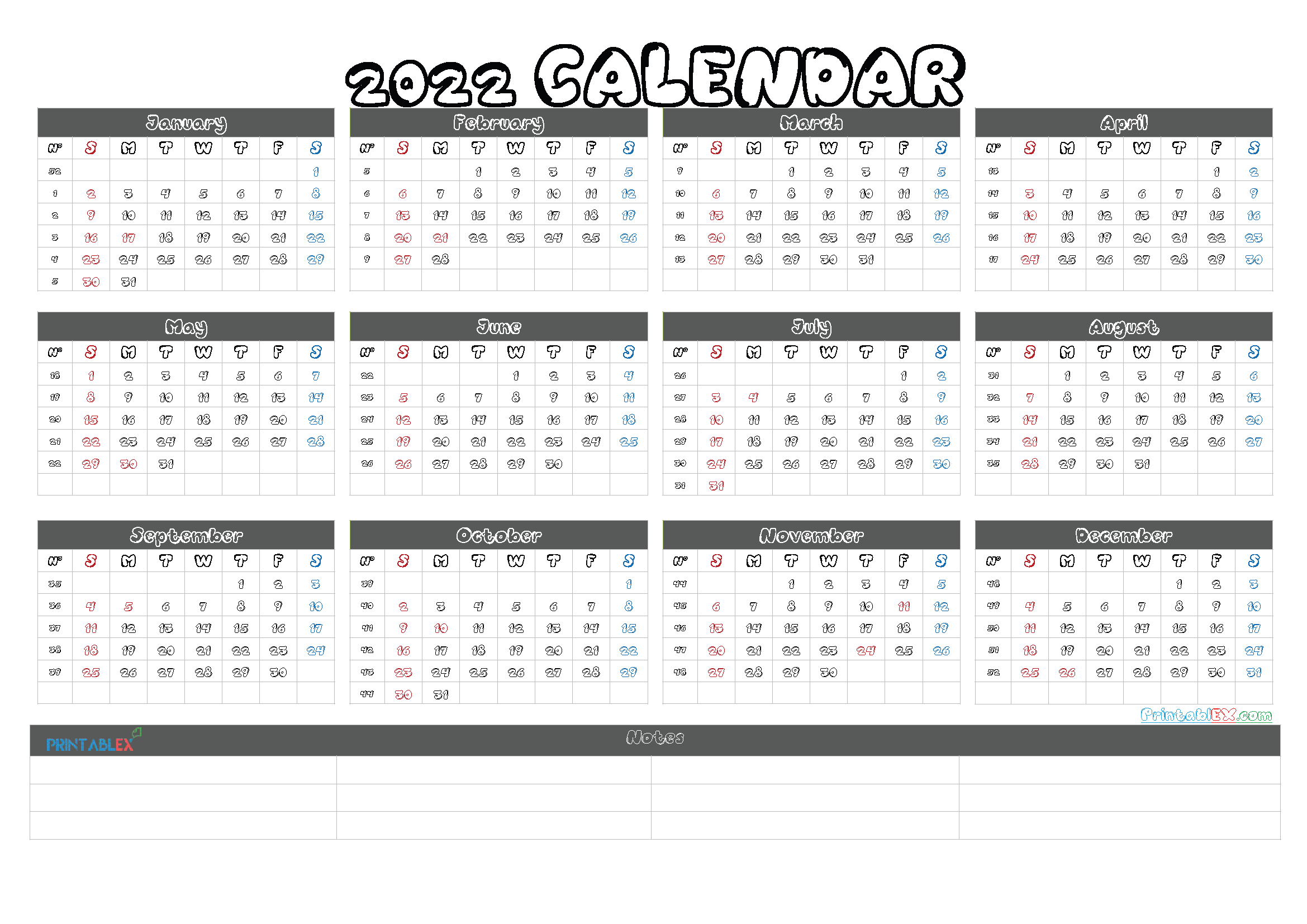 Free Printable 2022 Calendar by Month (Font: horns)