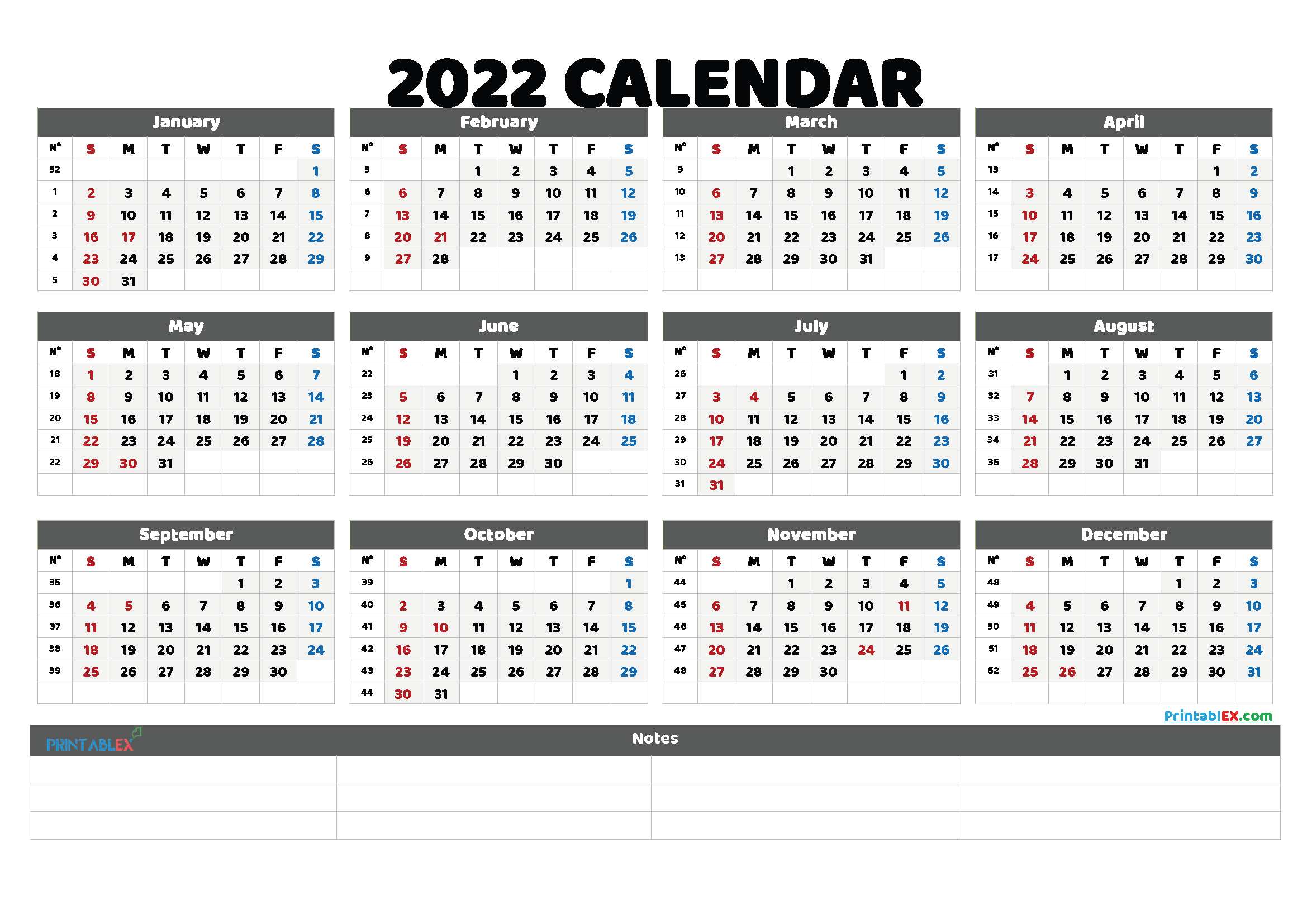 2022 Free Printable Yearly Calendar with Week Numbers (Font: inkfr)