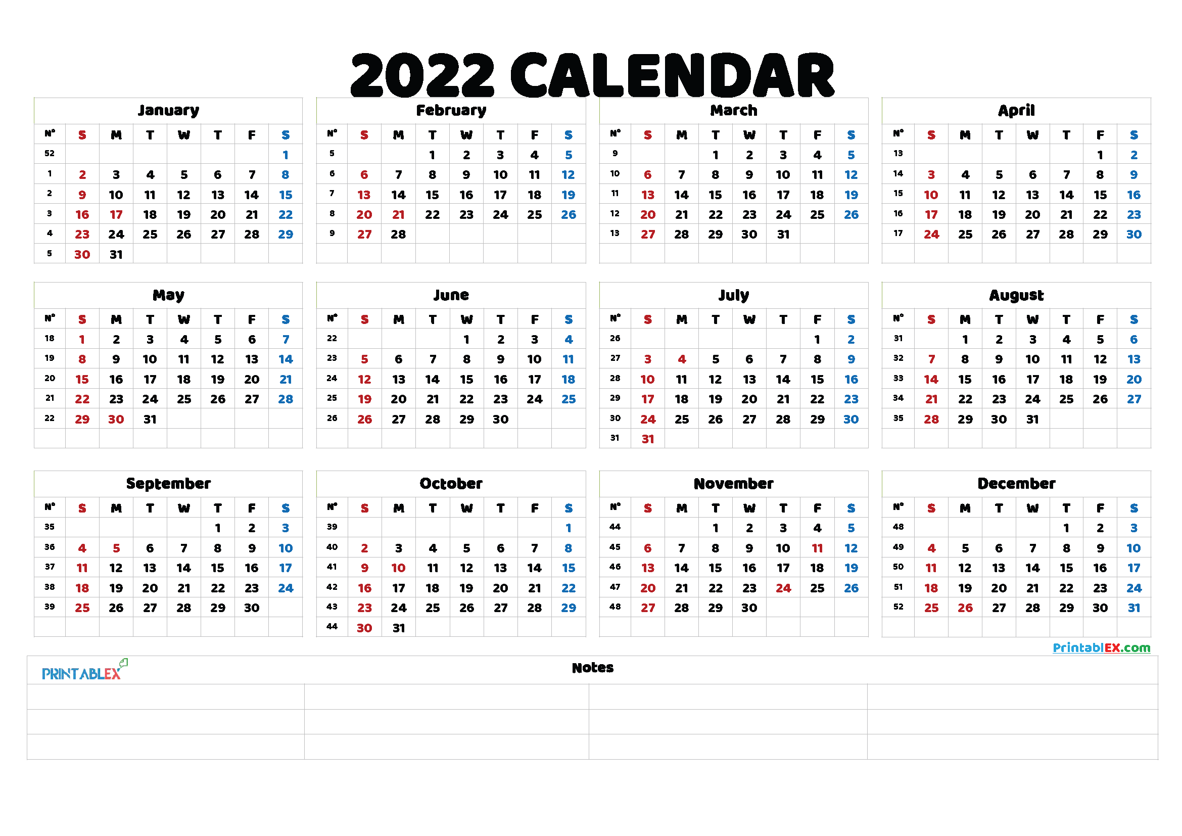 2022 Printable Yearly Calendar with Week Numbers (Font: insom)