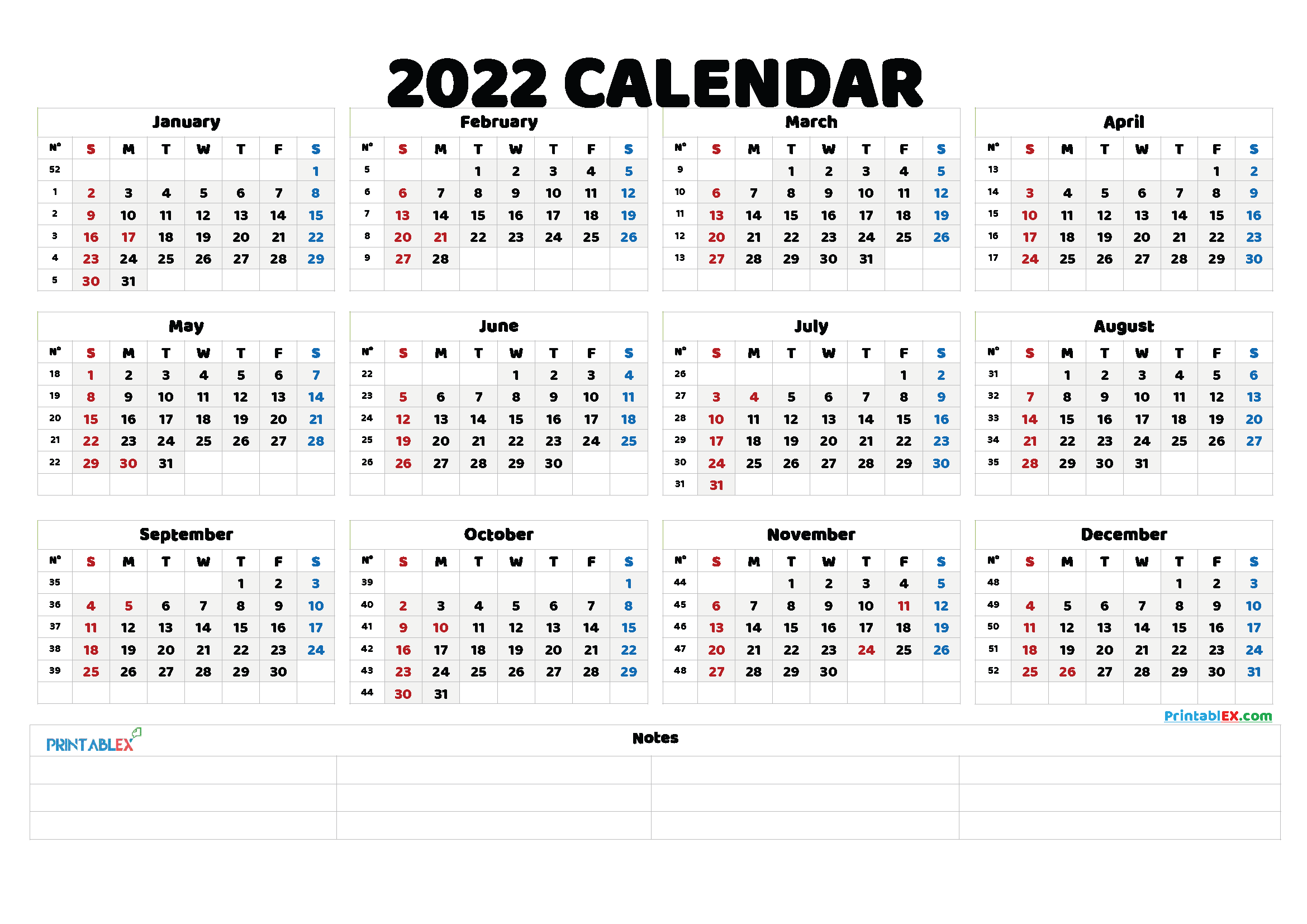 Free Printable 2022 Yearly Calendar with Week Numbers (Font: istok)
