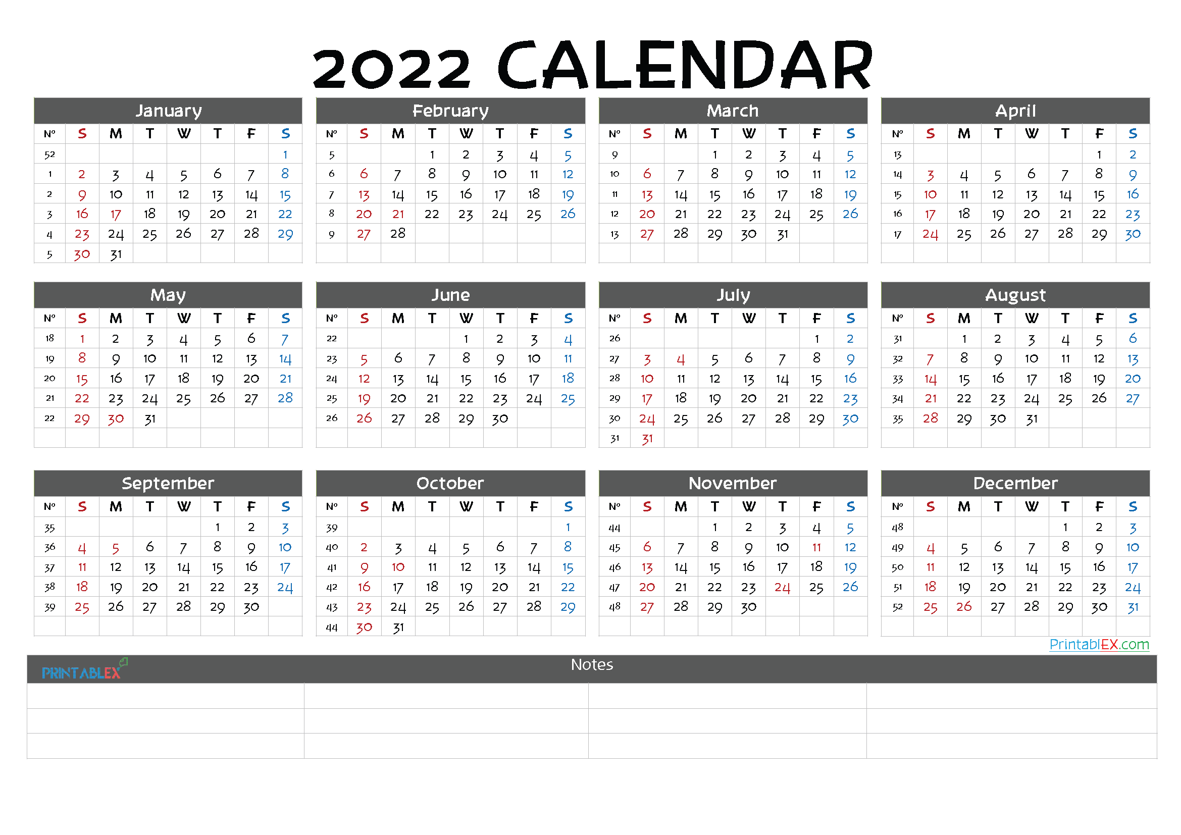 Printable 2022 Yearly Calendar (Font: jelly)