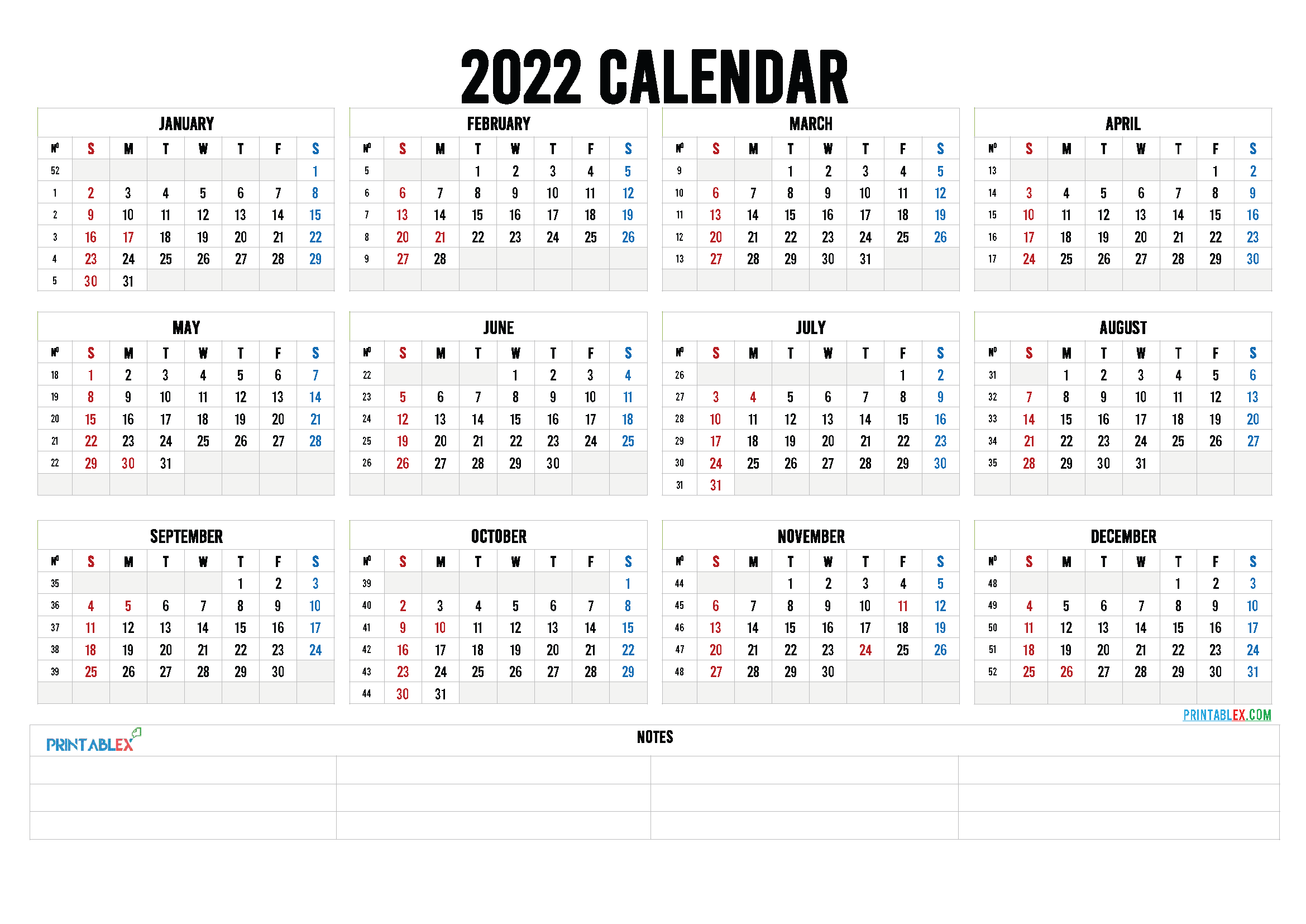 Free Printable 2022 Calendar by Year (Font: kirsty)