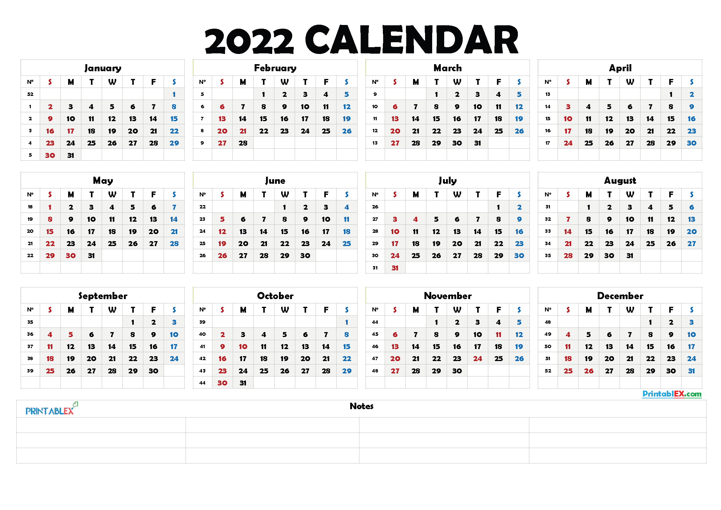 2022 Free Printable Yearly Calendar with Week Numbers (Font: launi)