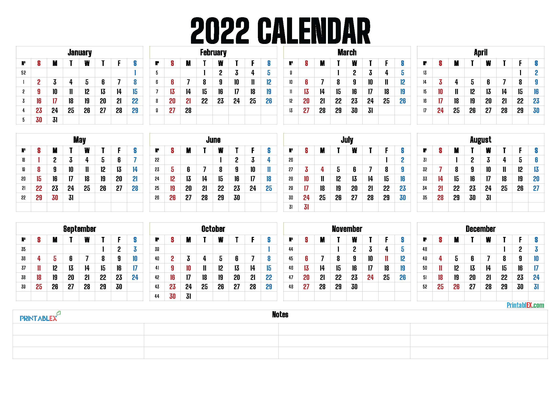 Printable 2022 Yearly Calendar (Font: letter)