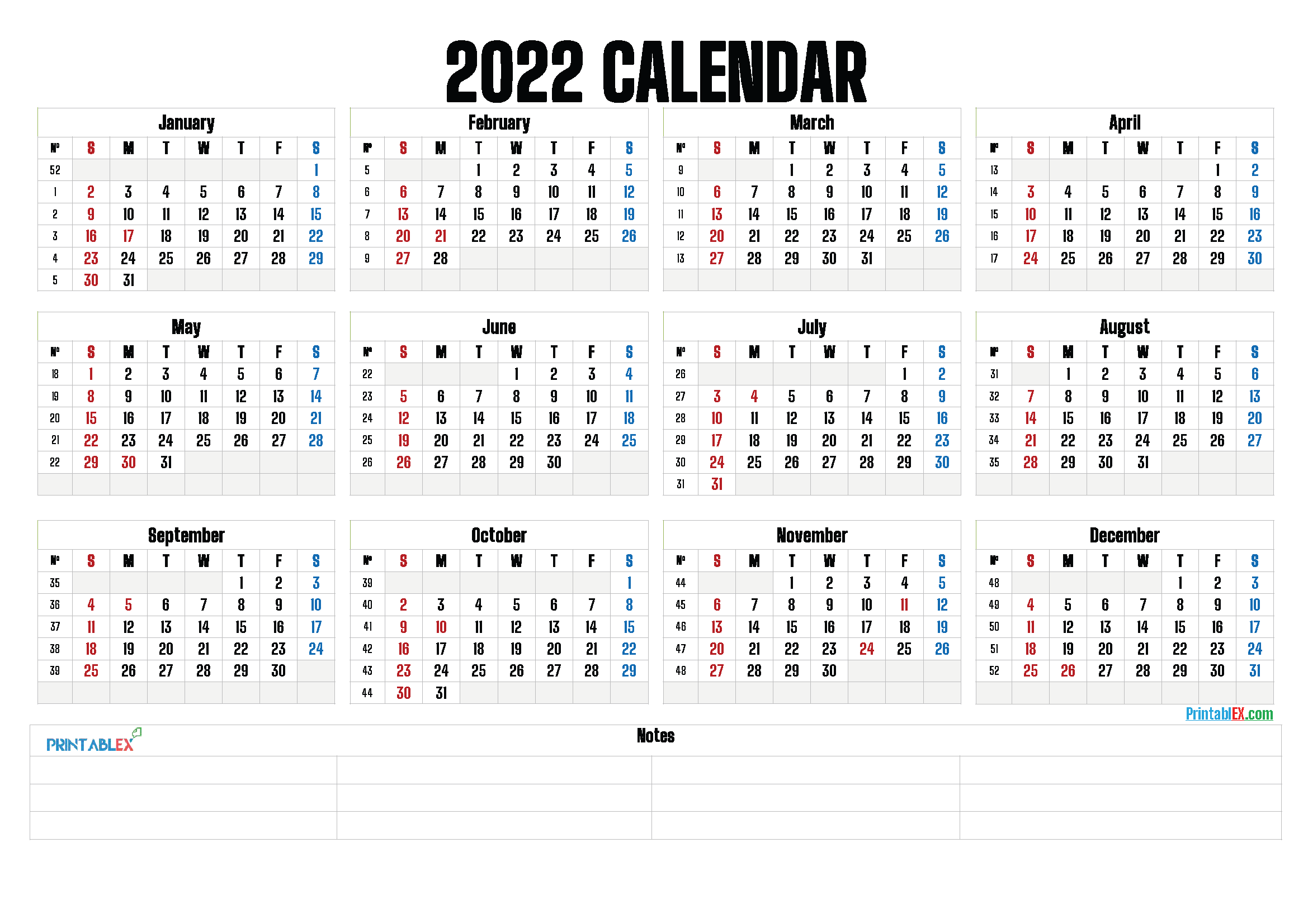 Printable 2022 Yearly Calendar with Week Numbers (Font: lilac)