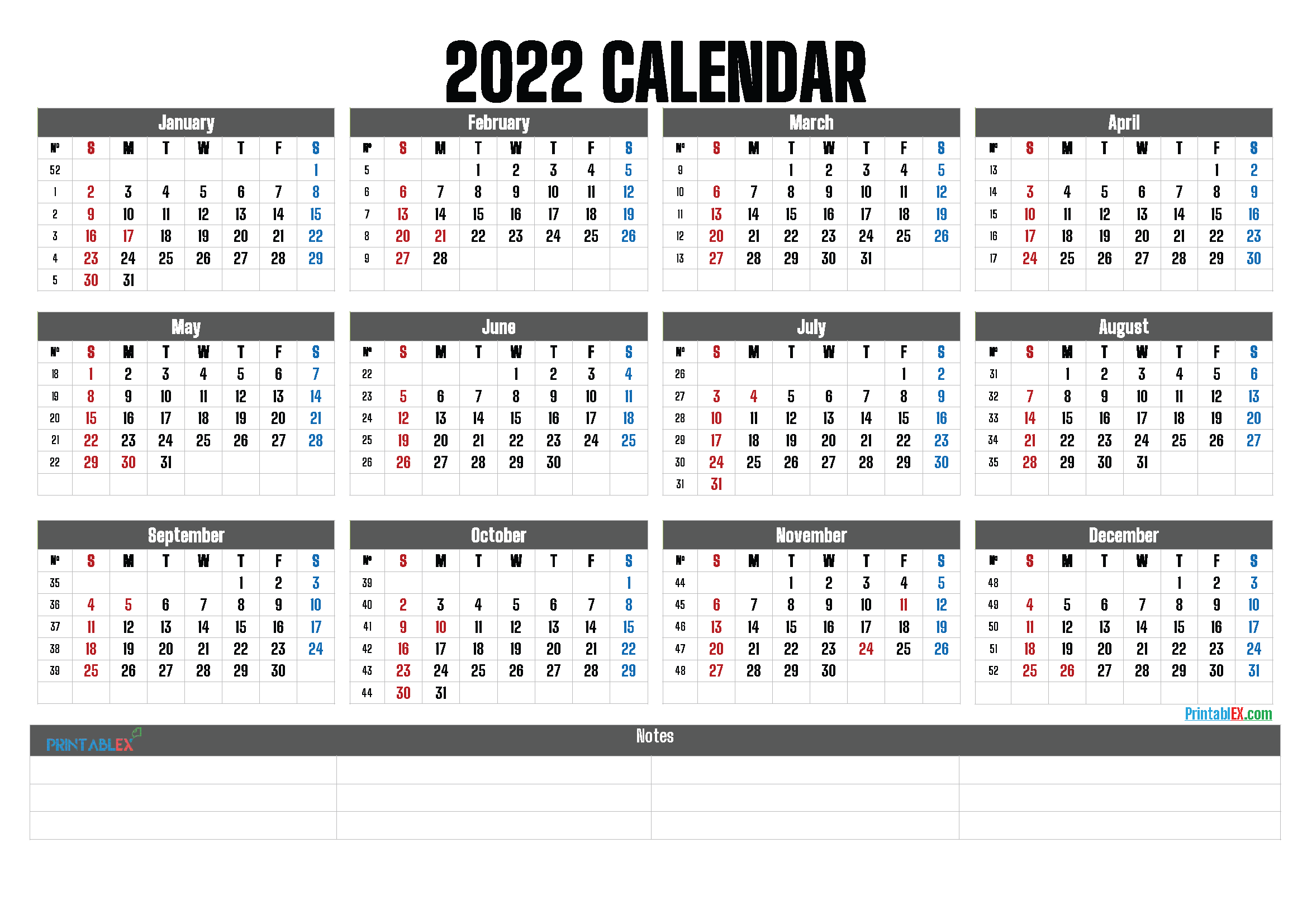 2022 Printable Yearly Calendar with Week Numbers (Font: leand)