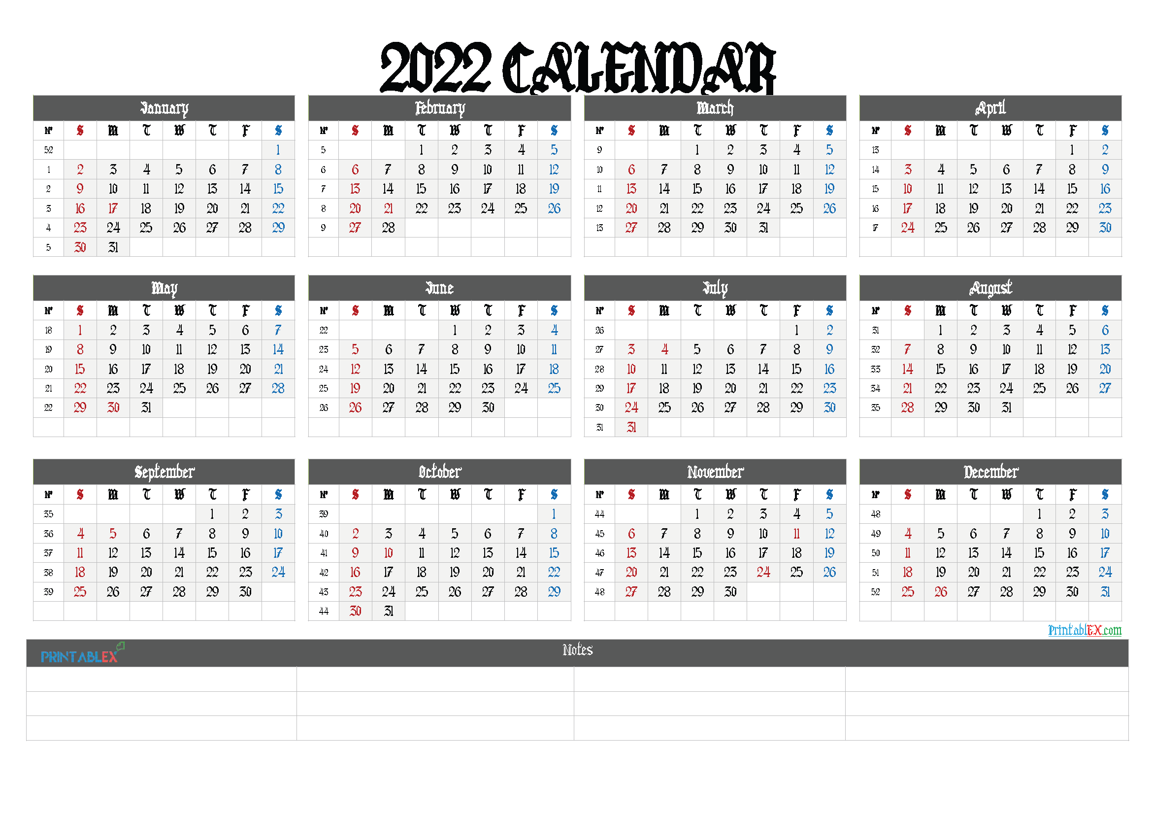 2022 Free Yearly Calendar Template PDF (Font: lovebeat)
