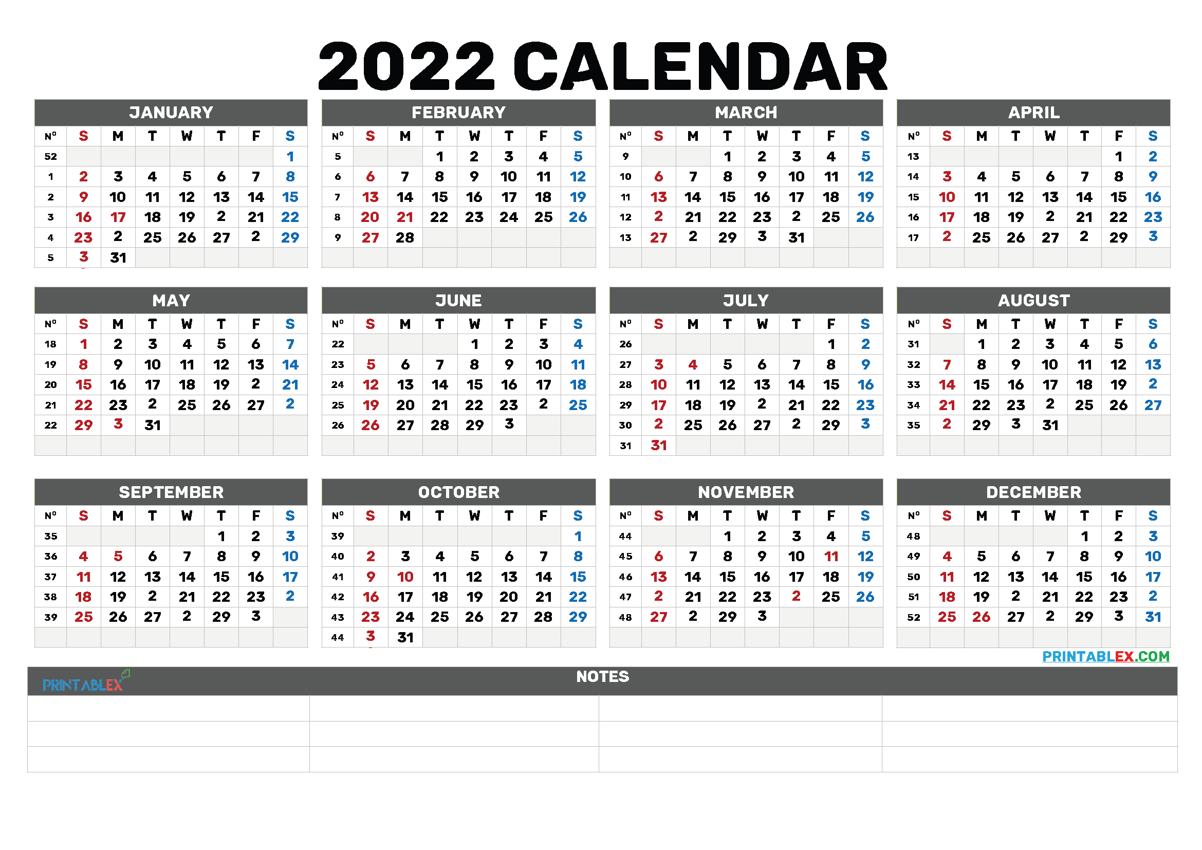 Free Printable 2022 Calendar by Year (Font: magneto)
