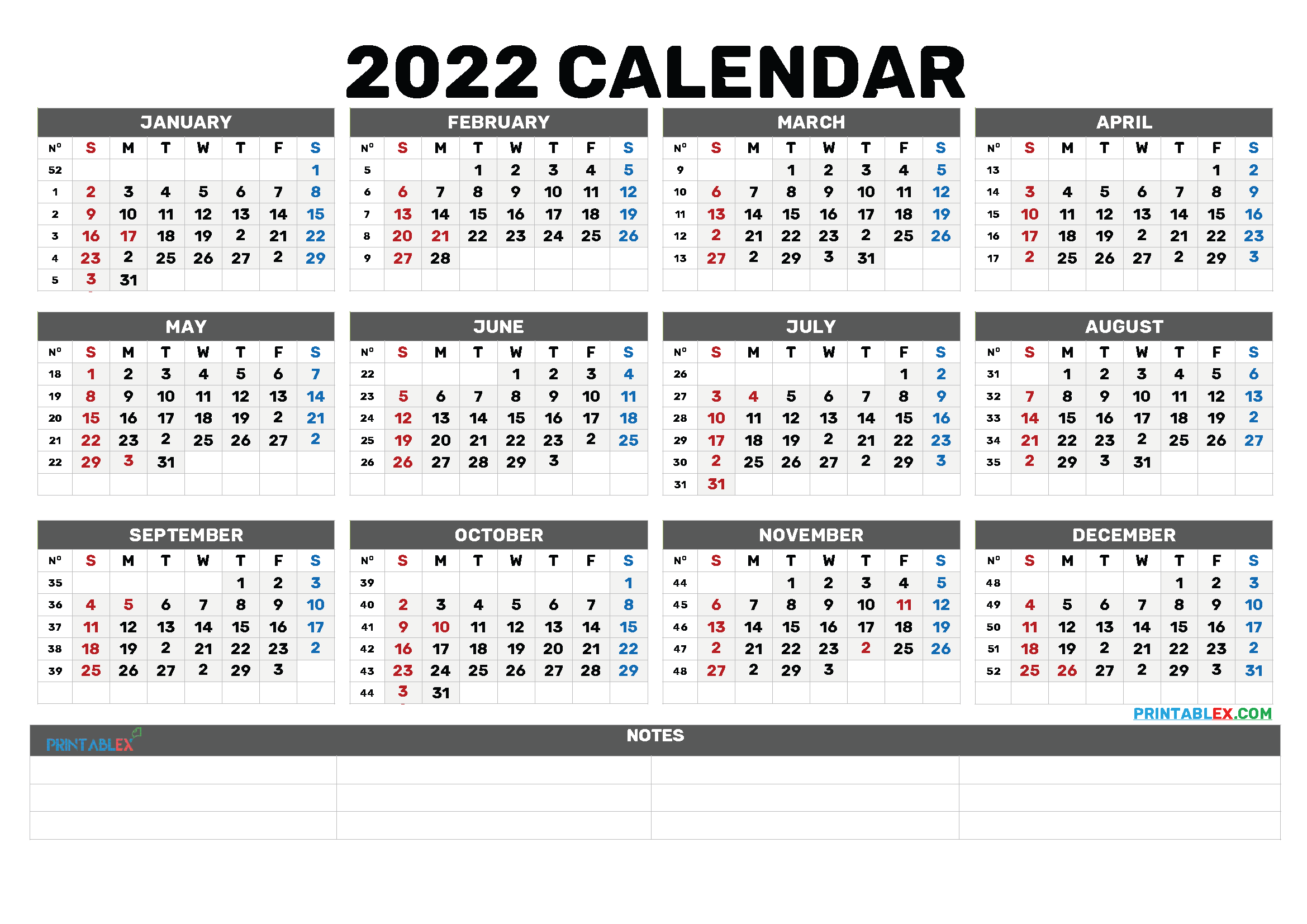 Printable 2022 Calendar by Month (Font: maiden)