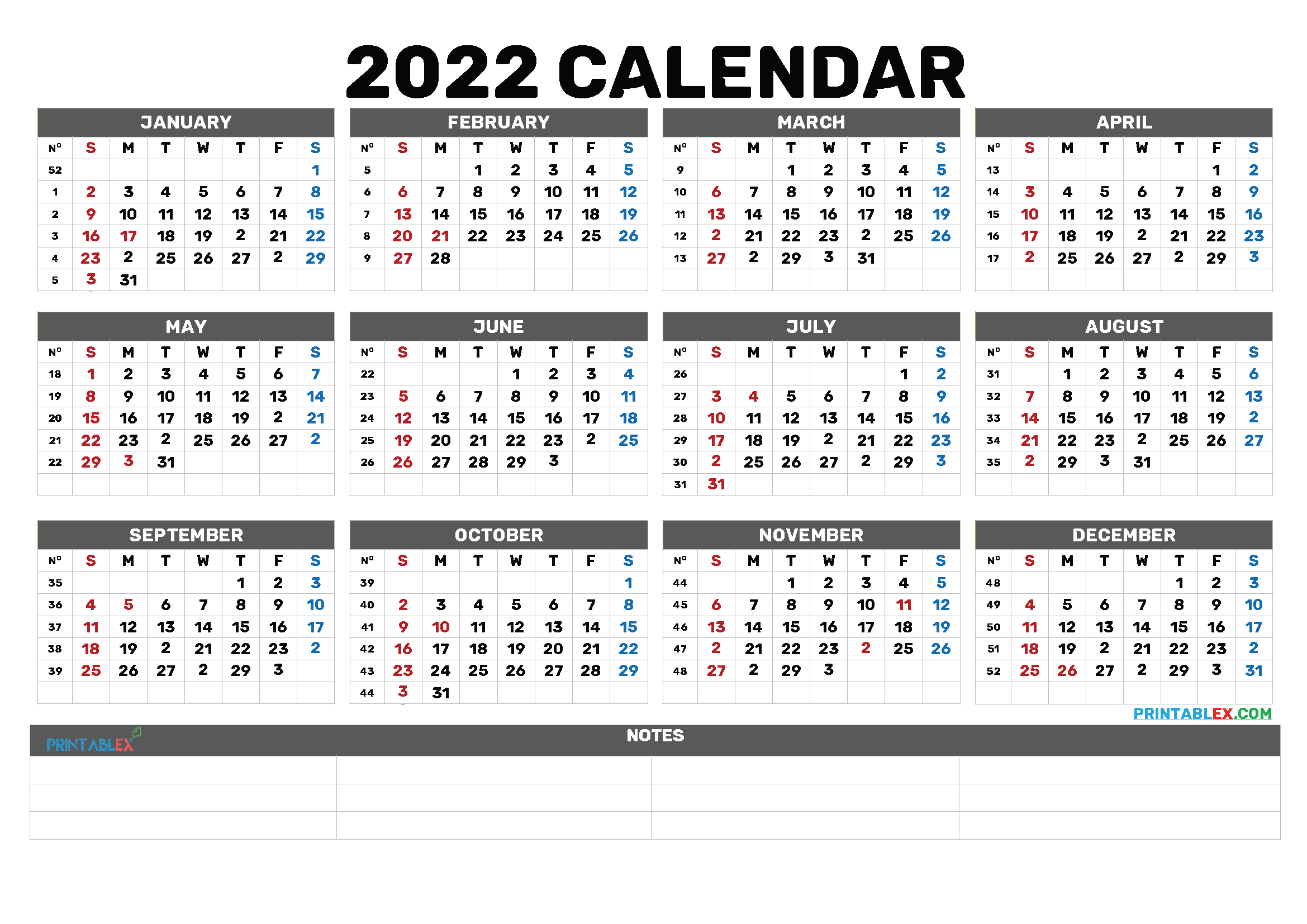Free Printable 2022 Calendar by Month (Font: magenta)