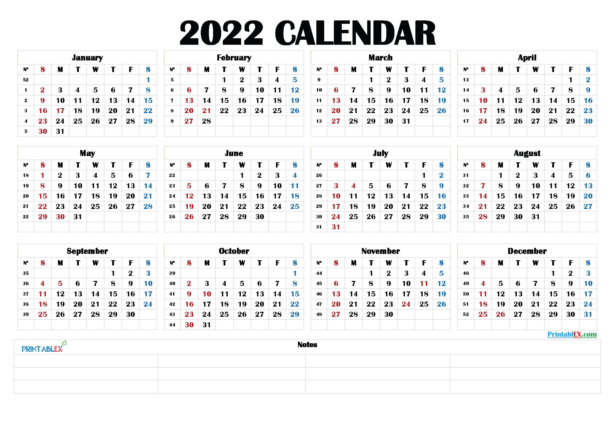 Free Printable 2022 Calendar by Month - 22ytw190