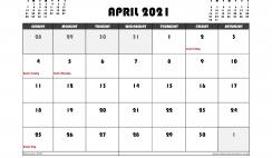 Free April 2021 Calendar Australia Printable