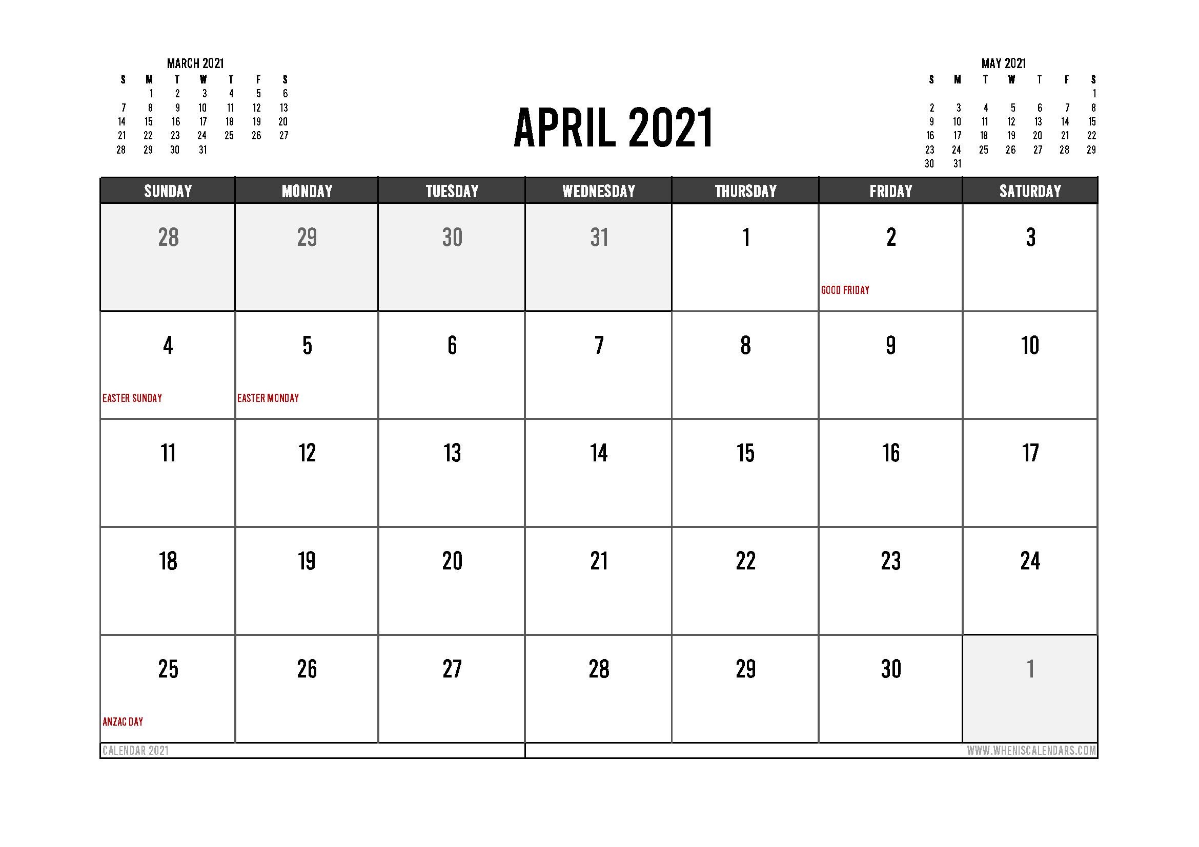 Printable April 2021 Calendar Australia