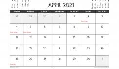 April 2021 Calendar Australia Printable